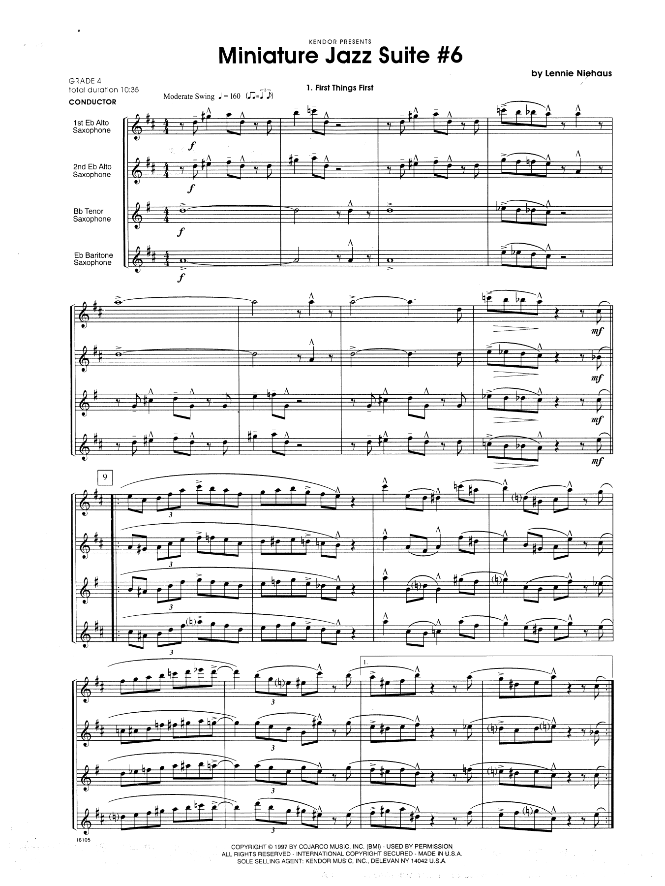 Miniature Jazz Suite #6, Four Movements - Full Score Sheet Music
