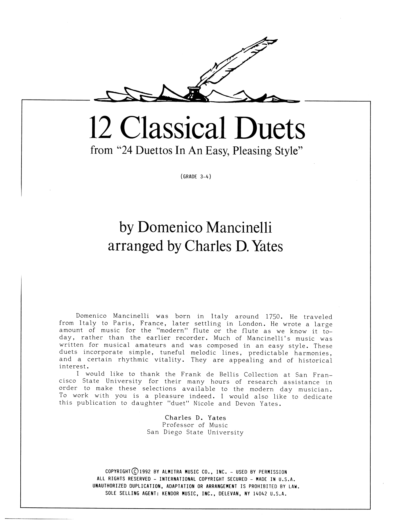 12 Classics Duets (from 24 Duettos In An Easy, Pleasing Style) Sheet Music
