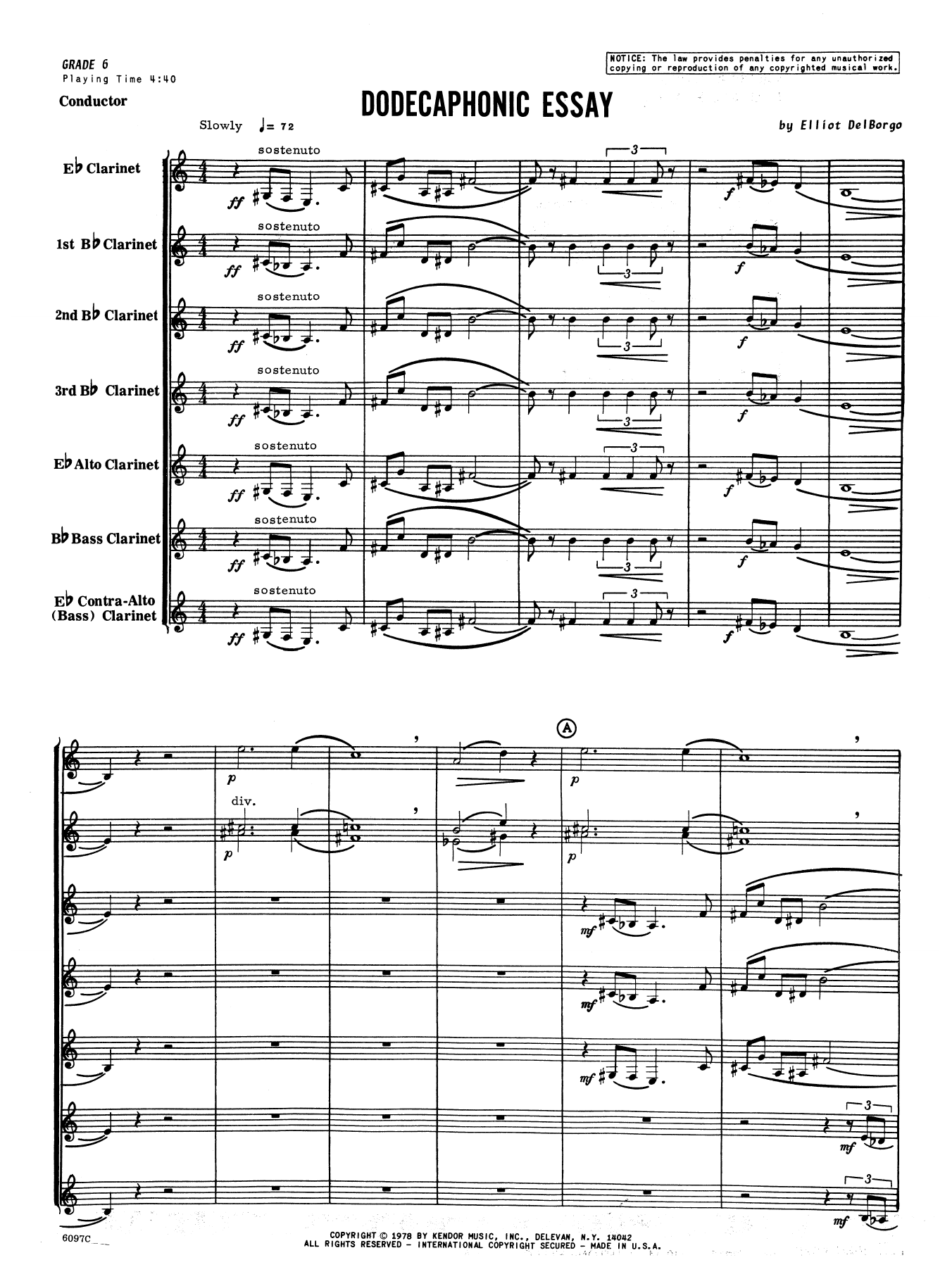 Dodecaphonic Essay (COMPLETE) sheet music for clarinet sextet by Elliot A. Del Borgo. Score Image Preview.
