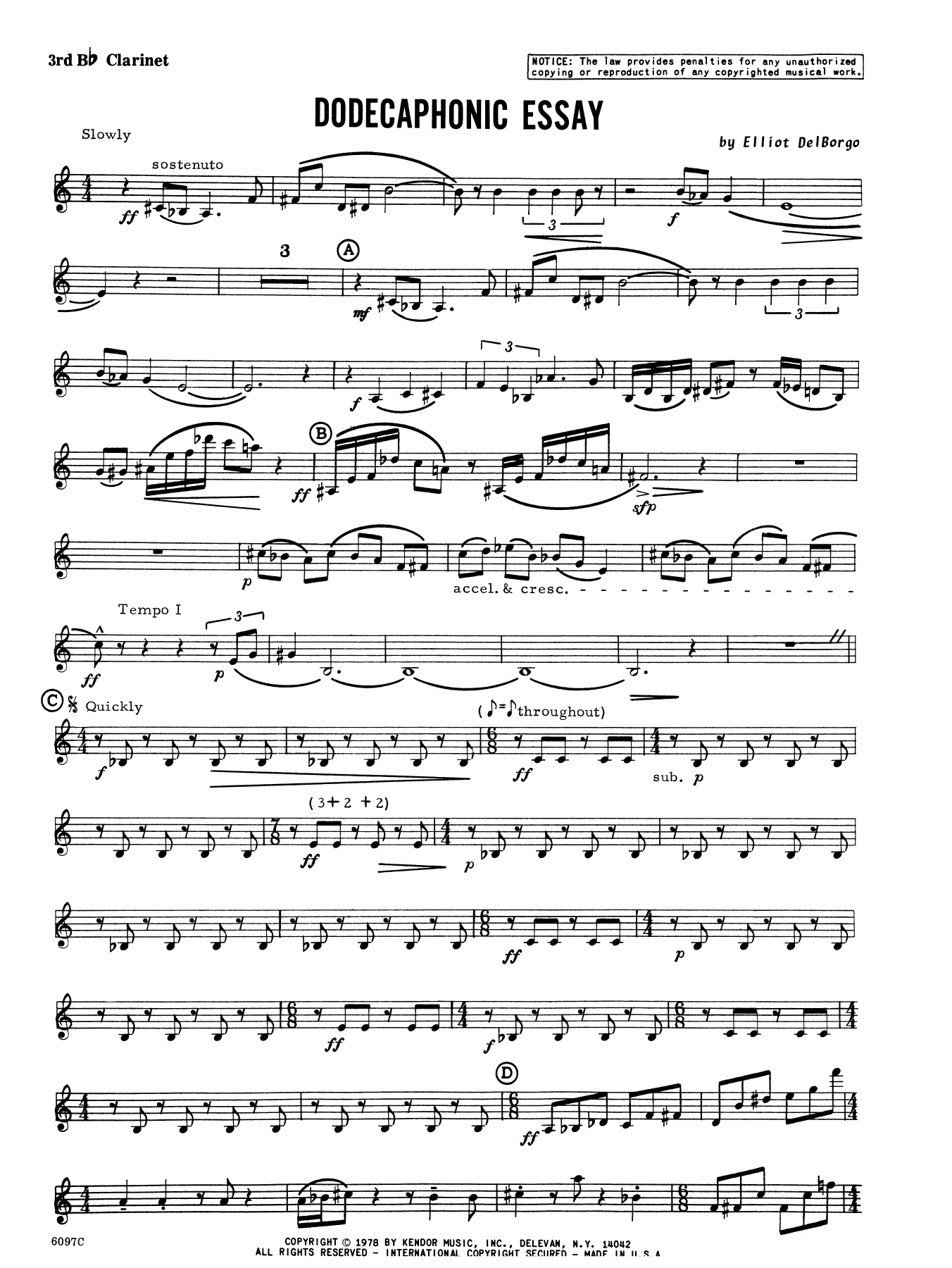 Dodecaphonic Essay - 3rd Bb Clarinet Sheet Music