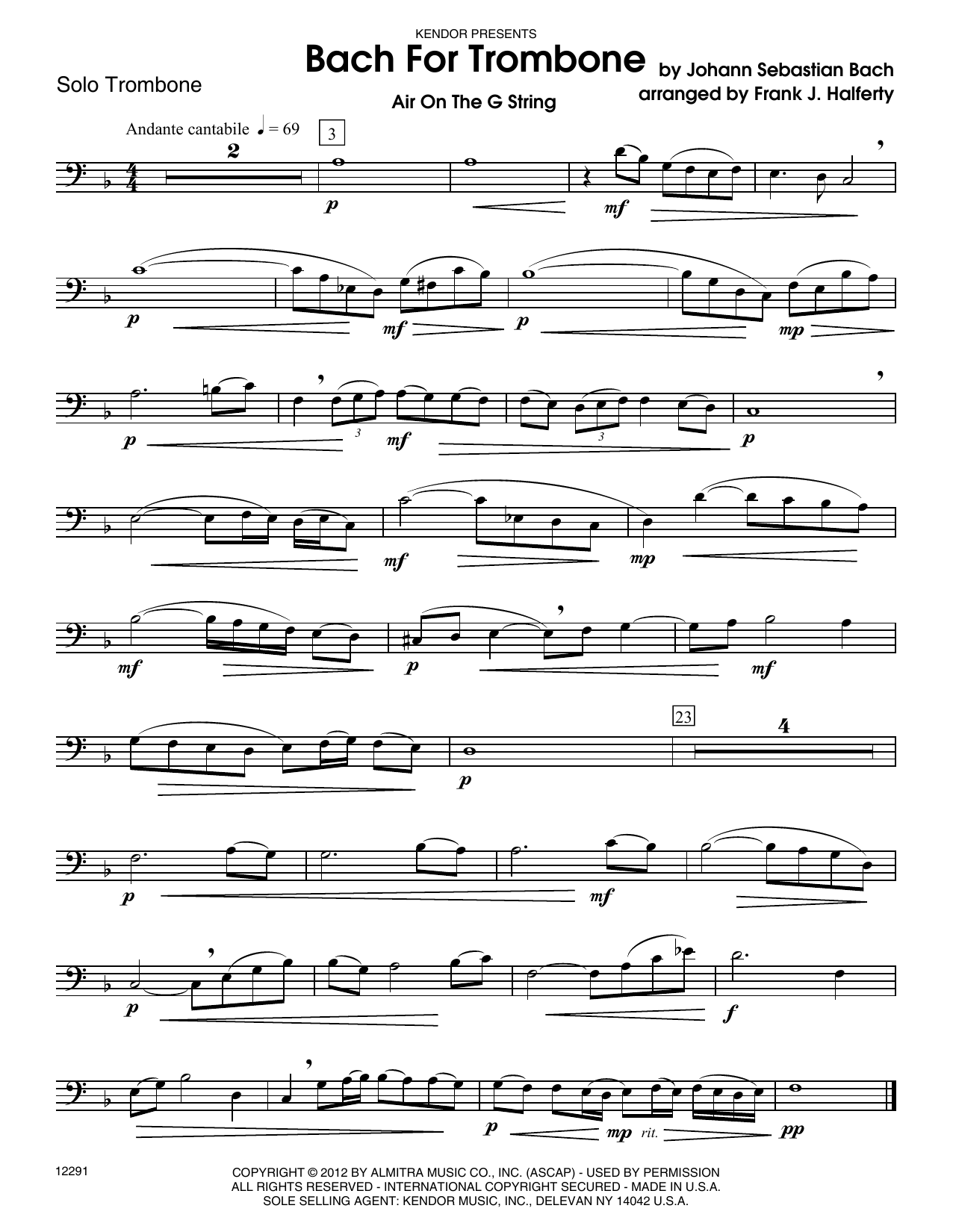 Bach For Trombone (complete set of parts) sheet music for trombone and piano by Johann Sebastian Bach and Frank J. Halferty. Score Image Preview.