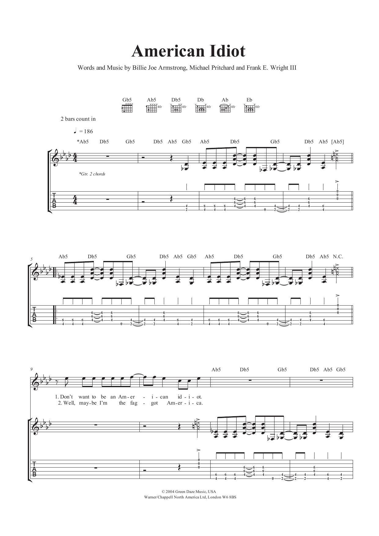 American Idiot Sheet Music Green Day Guitar Tab