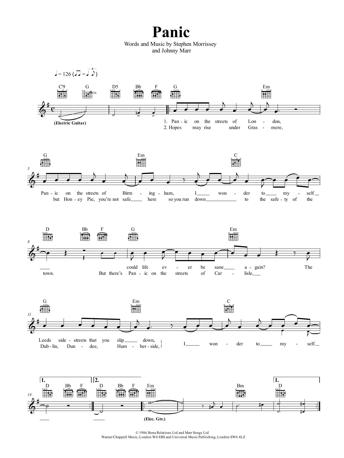 Panic Sheet Music