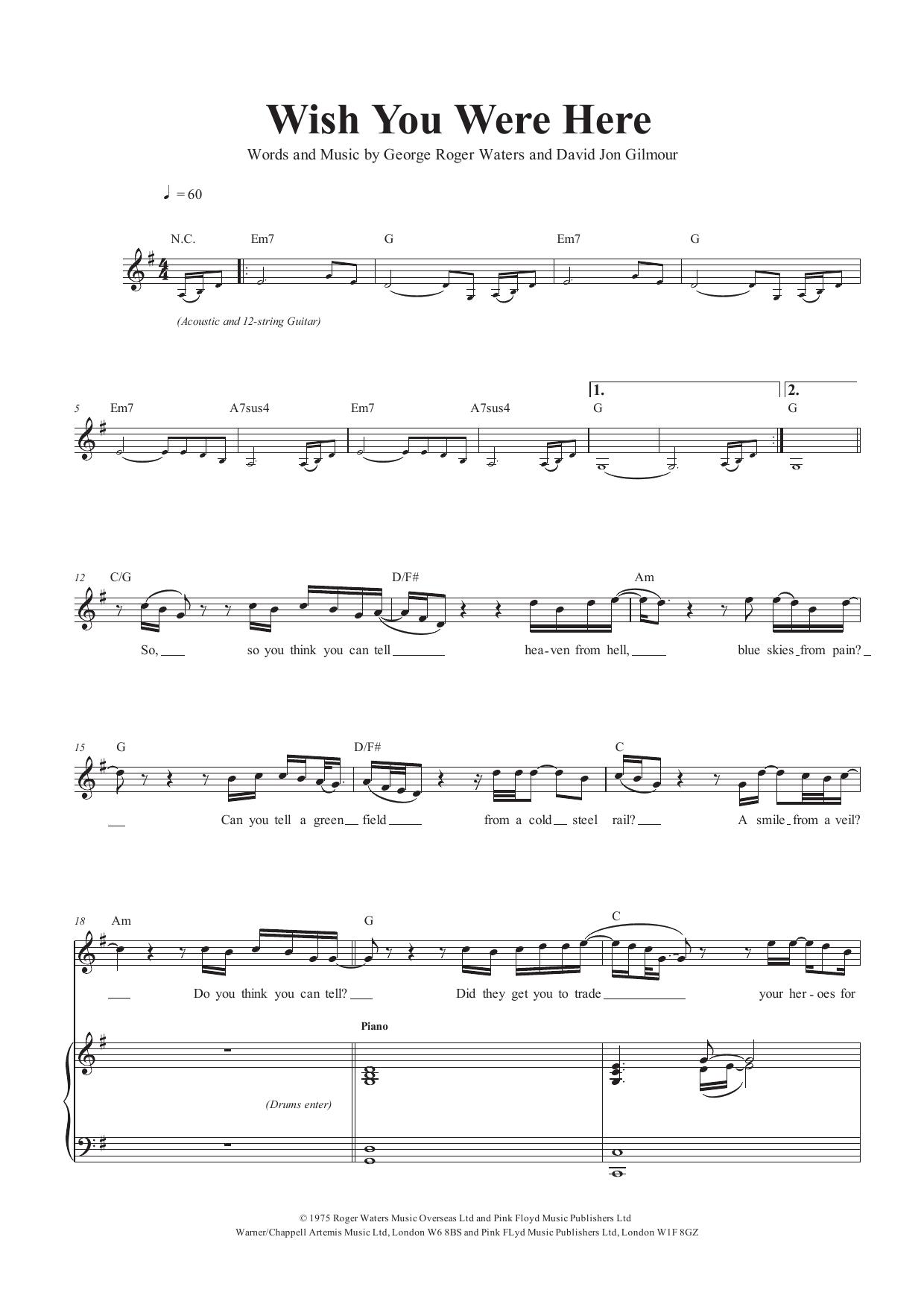 Pink Floyd Für Klavier Wish You Were Here Gesang /& Gitarre
