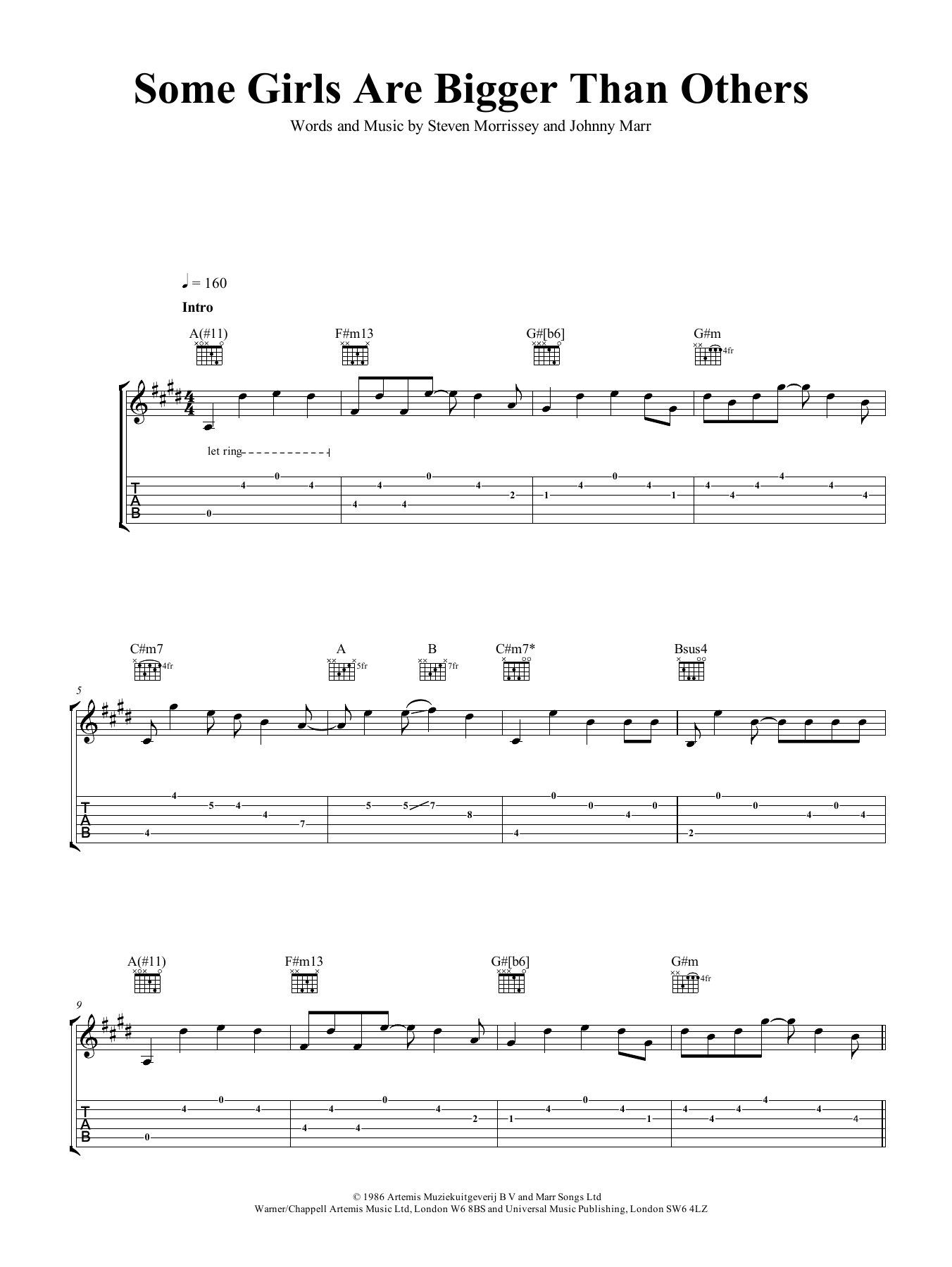 Some Girls Are Bigger Than Others (Guitar Tab)