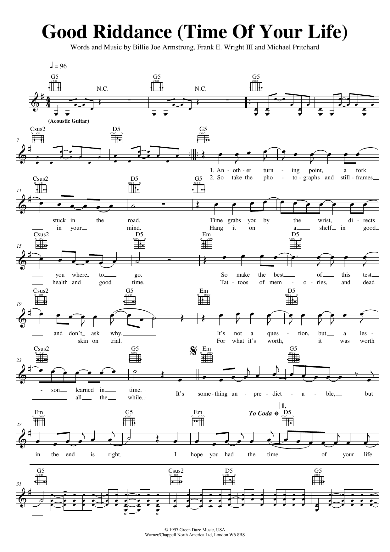 Good Riddance Time Of Your Life Sheet Music Green Day Melody