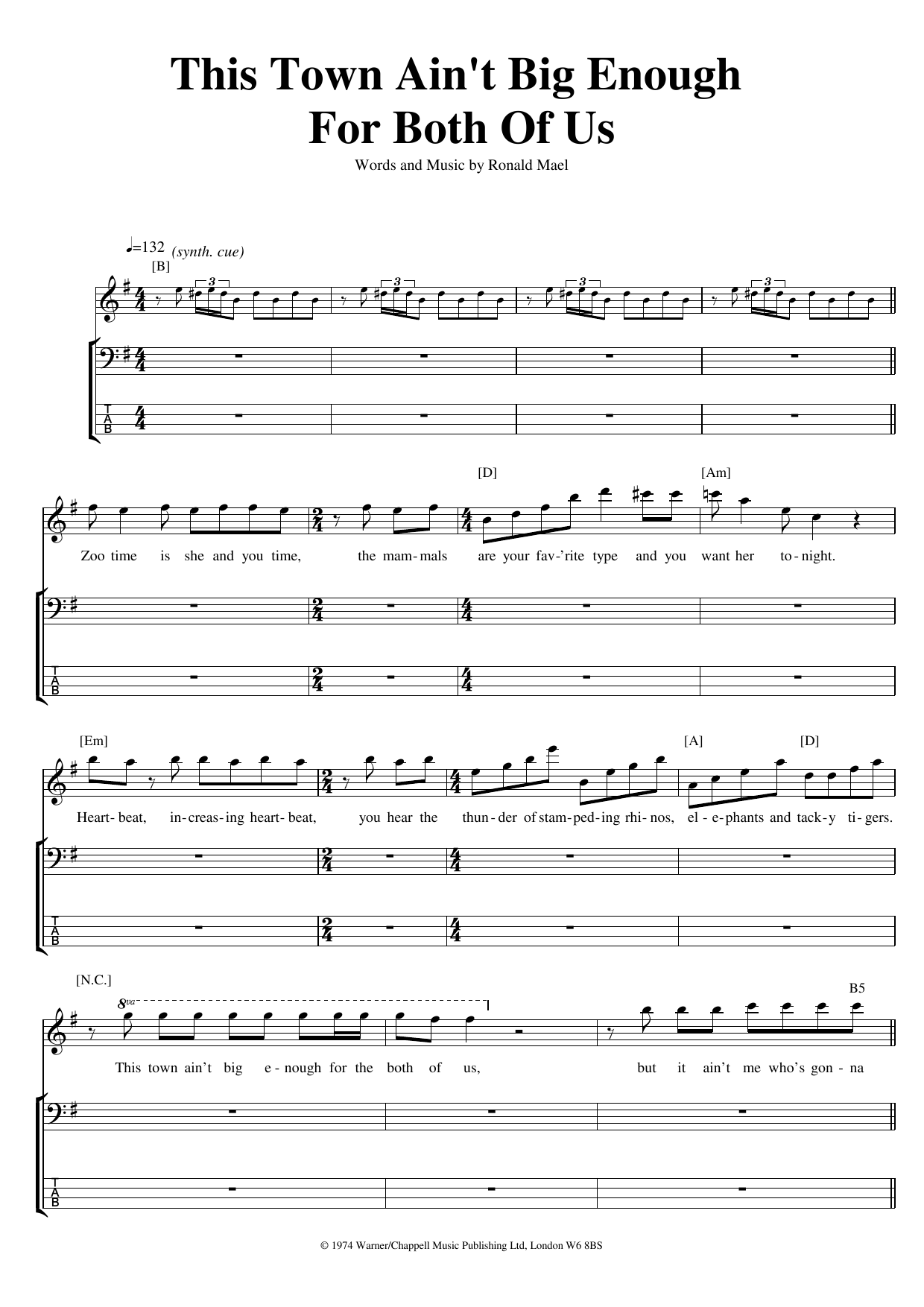 This Town Ain't Big Enough For Both Of Us (Bass Guitar Tab)