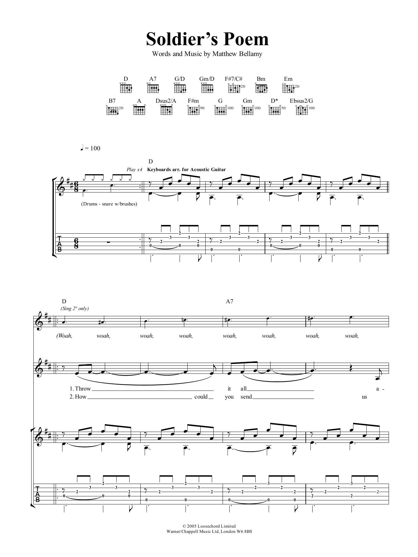 Soldier's Poem (Guitar Tab)