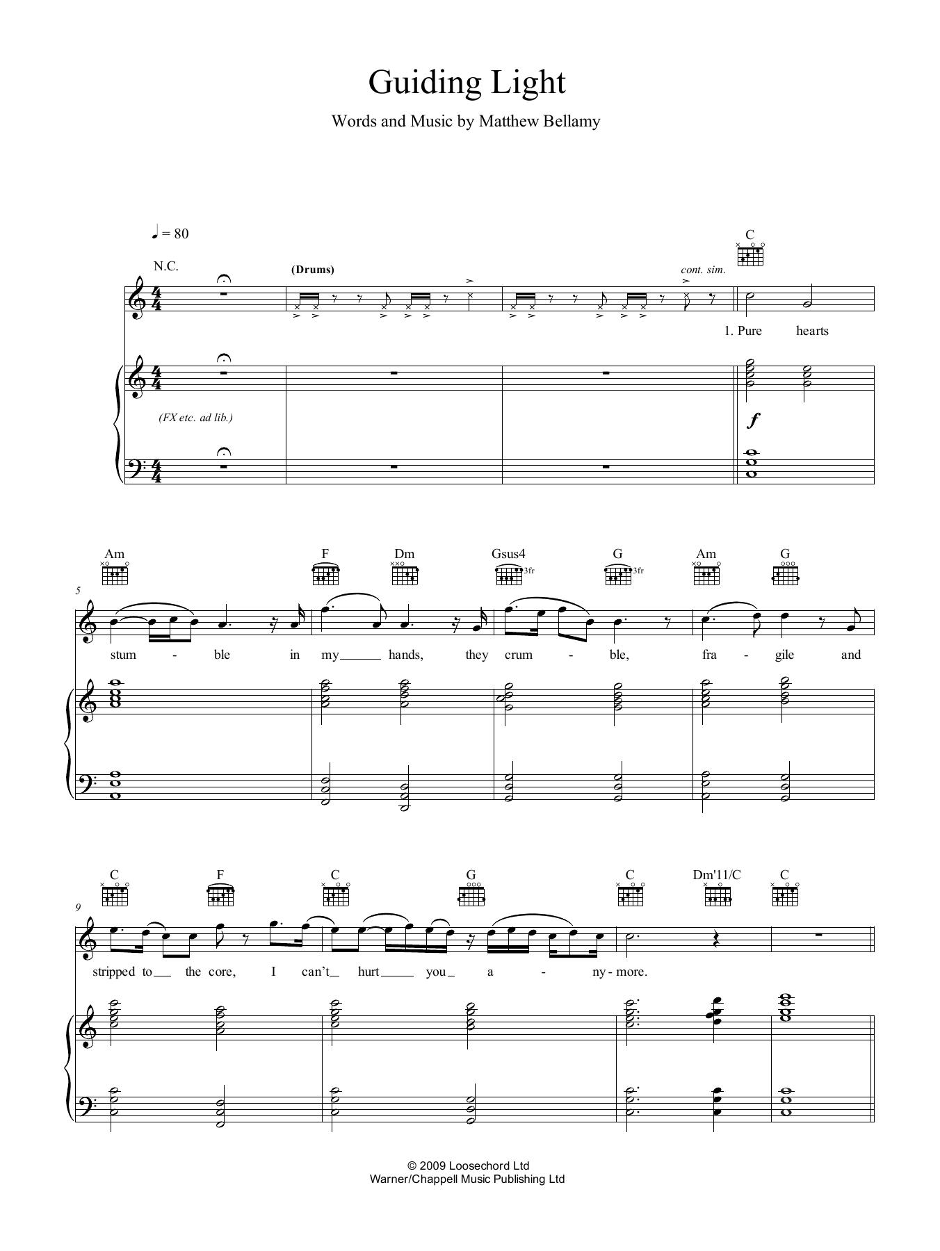 Guiding Light (Piano, Vocal & Guitar (Right-Hand Melody))