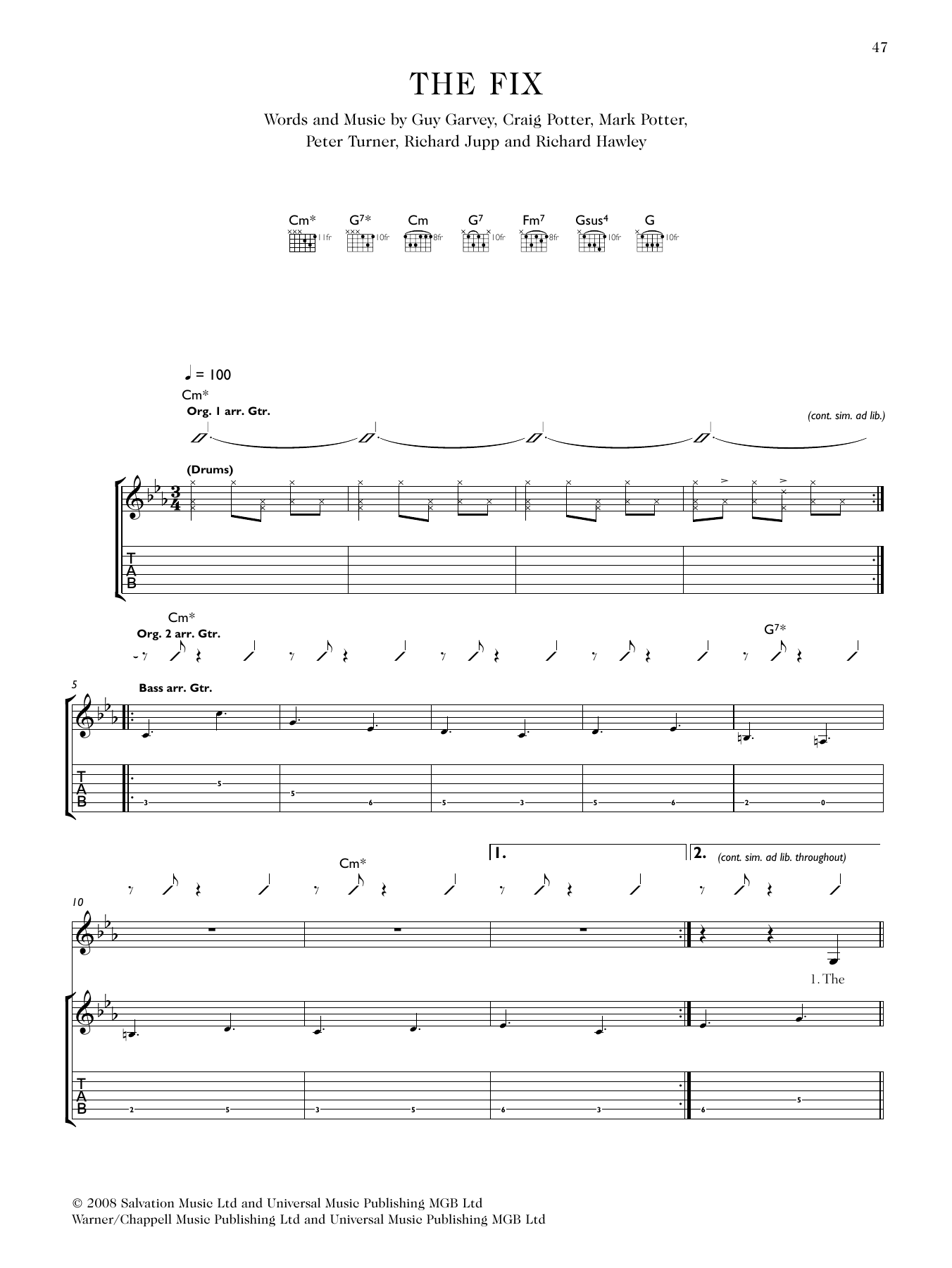 The Fix (feat. Richard Hawley) Sheet Music