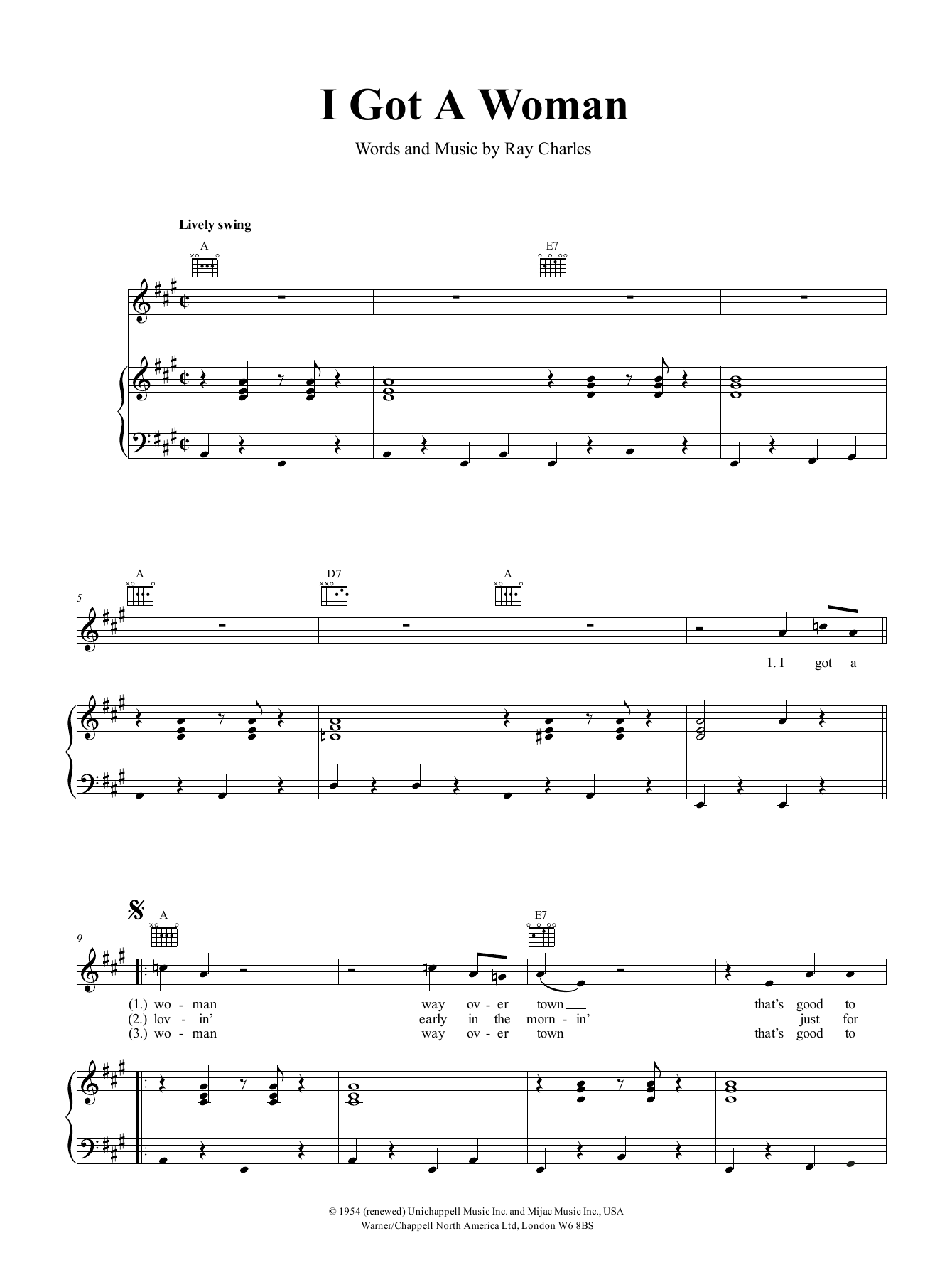 I Got A Woman (Piano, Vocal & Guitar (Right-Hand Melody))