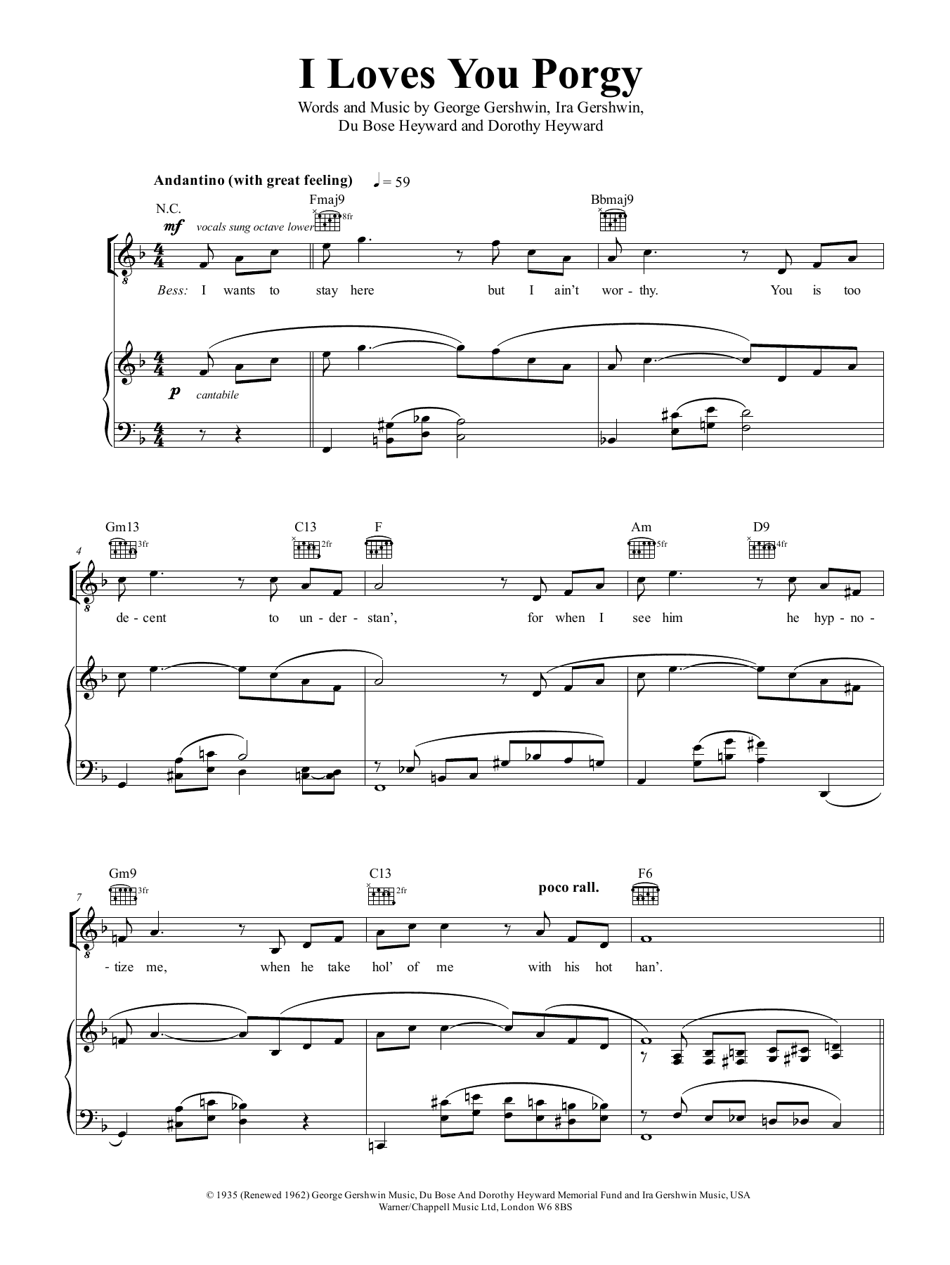 I Loves You, Porgy (from Porgy And Bess) (Piano, Vocal & Guitar (Right-Hand Melody))