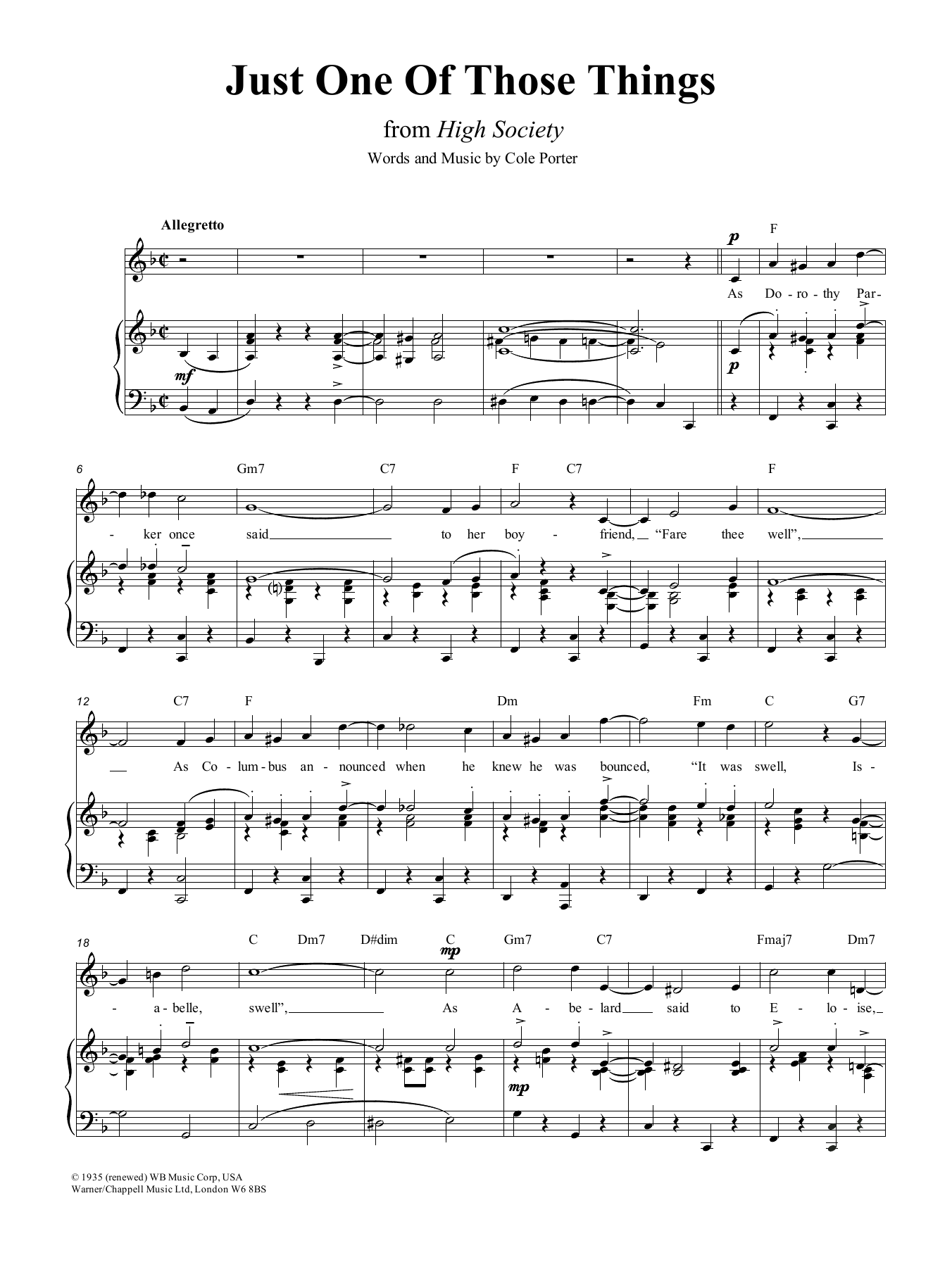 Just One Of Those Things (Piano, Vocal & Guitar (Right-Hand Melody))