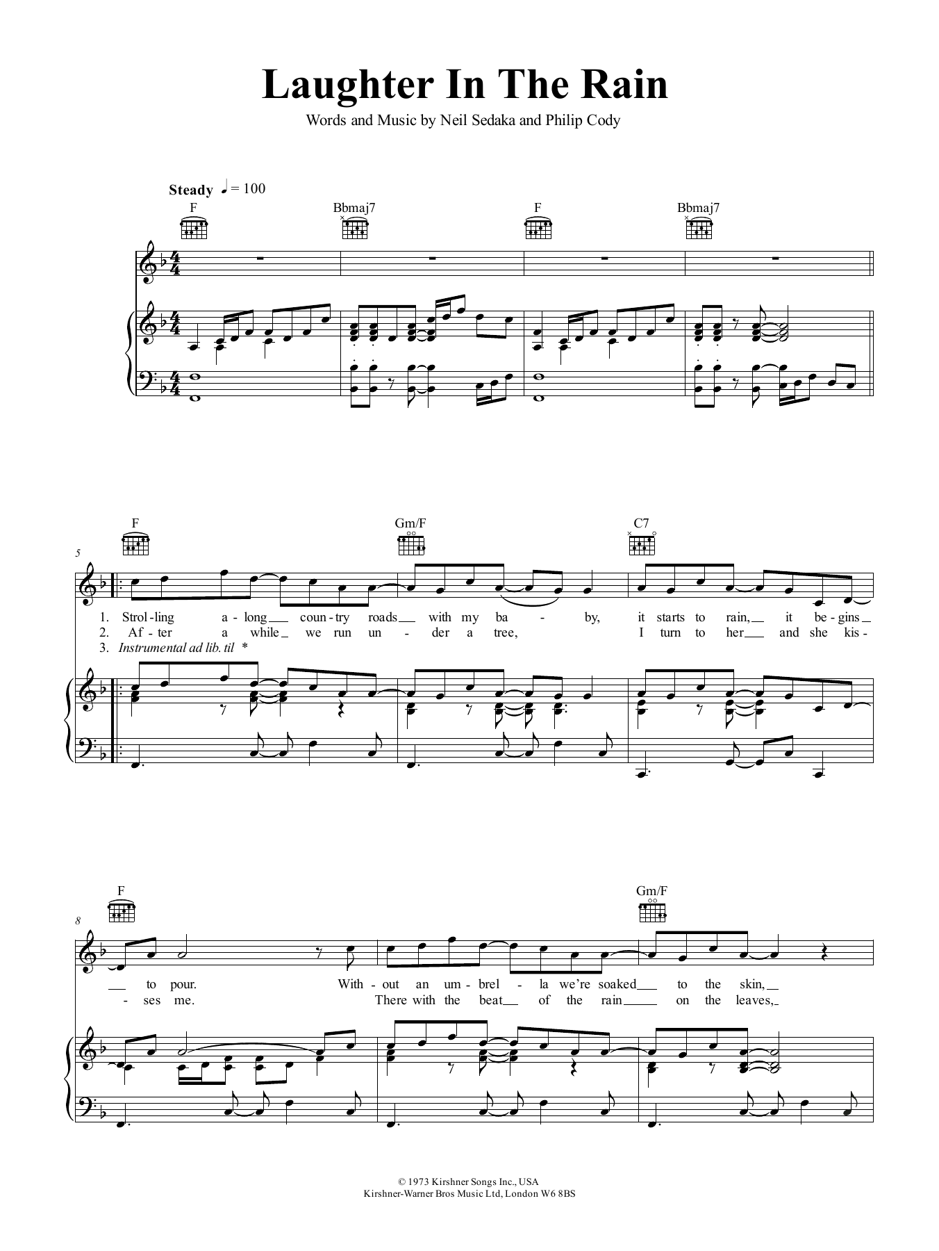 Laughter In The Rain (Piano, Vocal & Guitar (Right-Hand Melody))