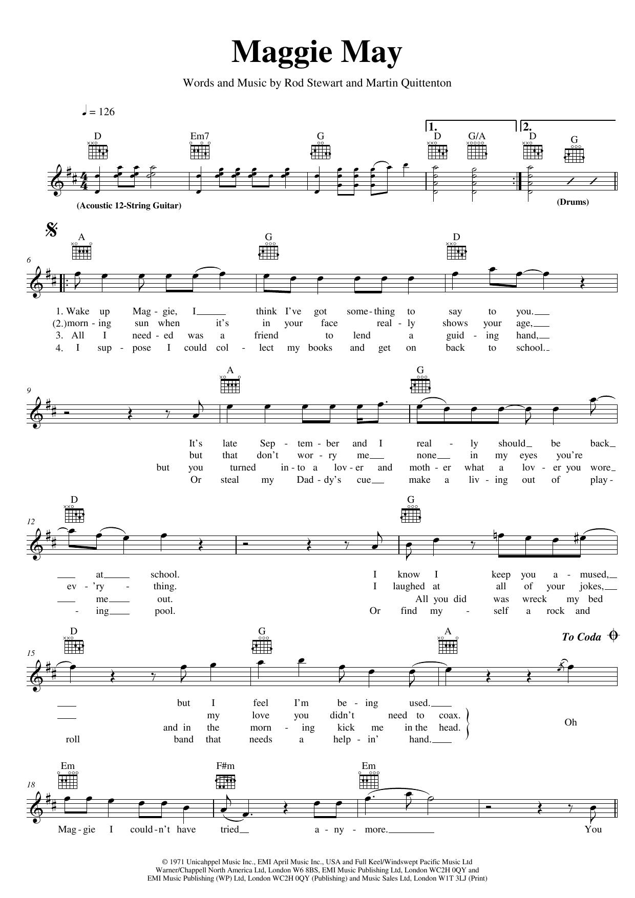 Maggie May Sheet Music