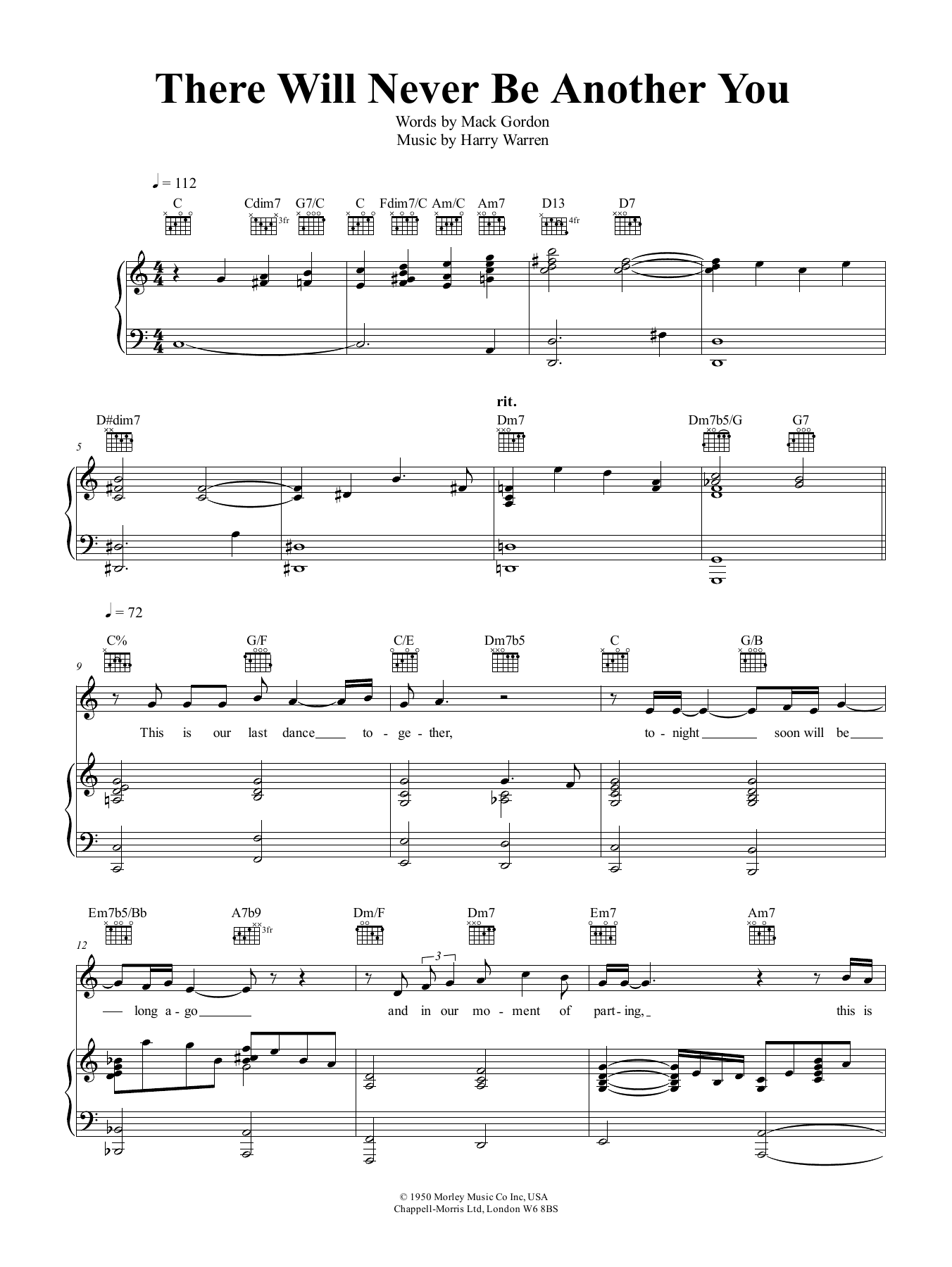 There Will Never Be Another You Sheet Music