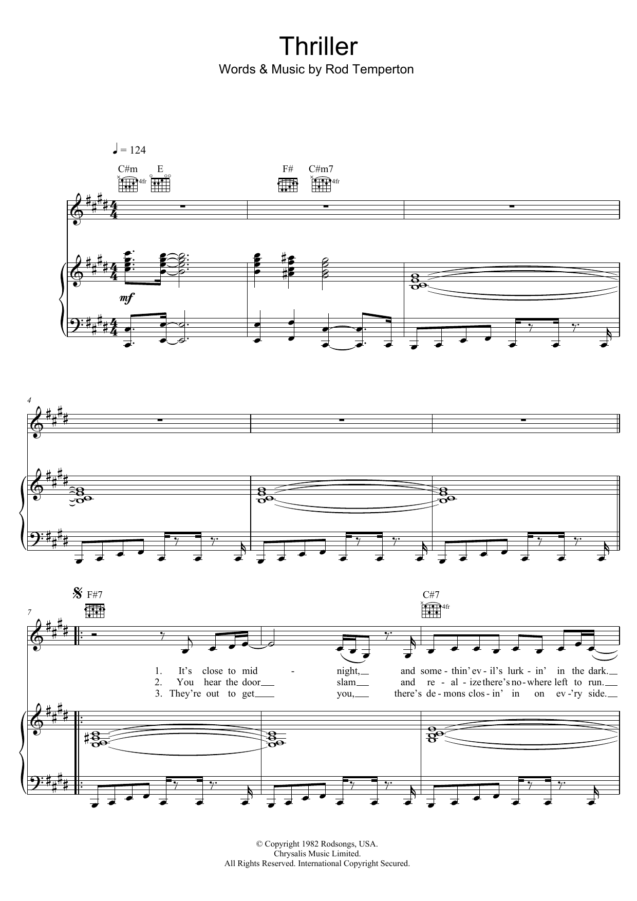 Thriller Sheet Music Michael Jackson Piano Vocal Guitar