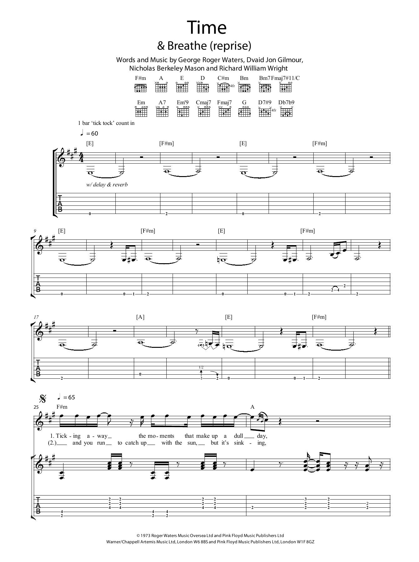 Time Sheet Music