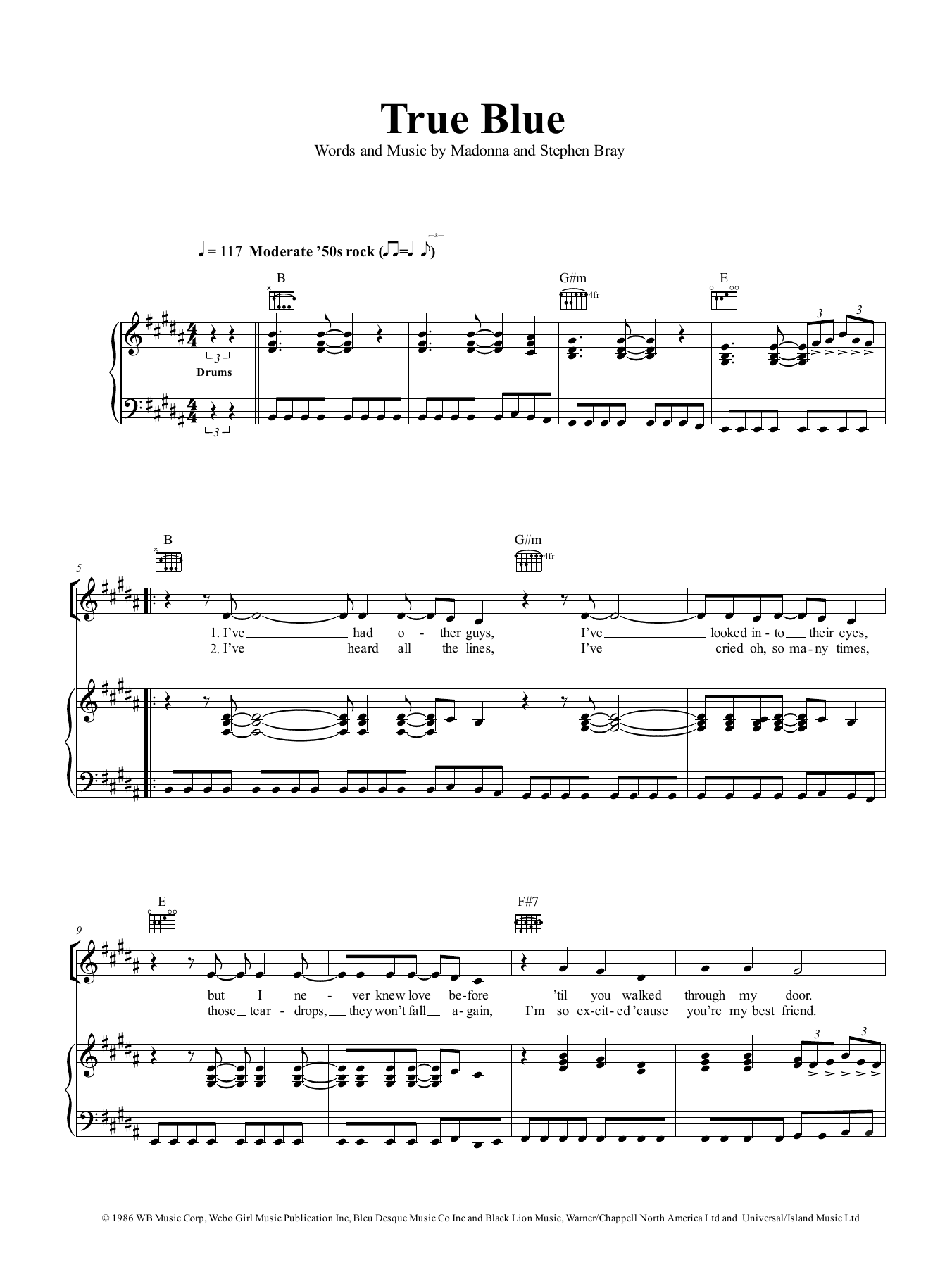 True Blue (Piano, Vocal & Guitar (Right-Hand Melody))