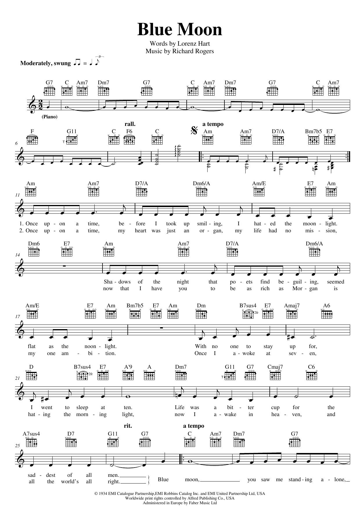 Blue Moon Sheet Music
