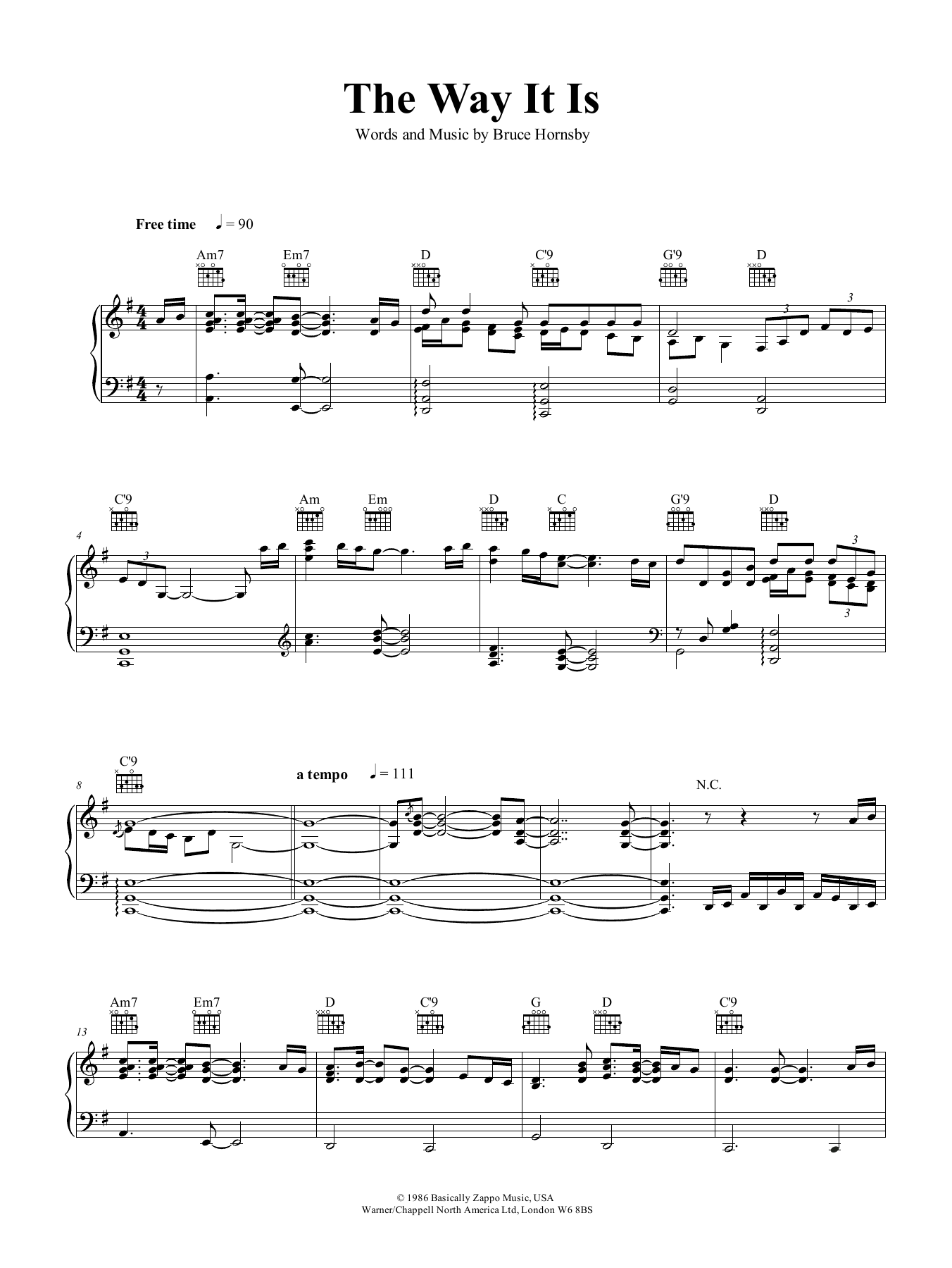 The Way It Is (Piano, Vocal & Guitar (Right-Hand Melody))