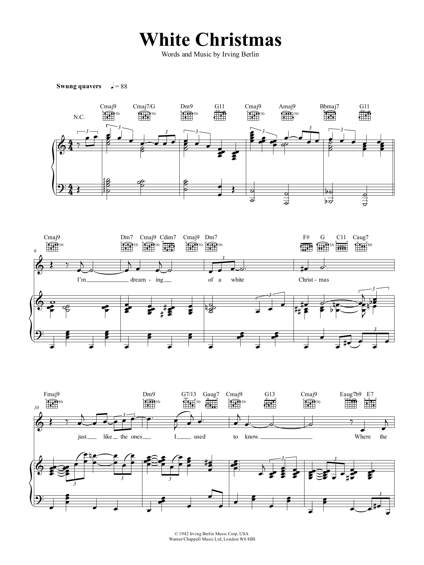 White Christmas Sheet Music | Irving Berlin | Piano, Vocal & Guitar ...