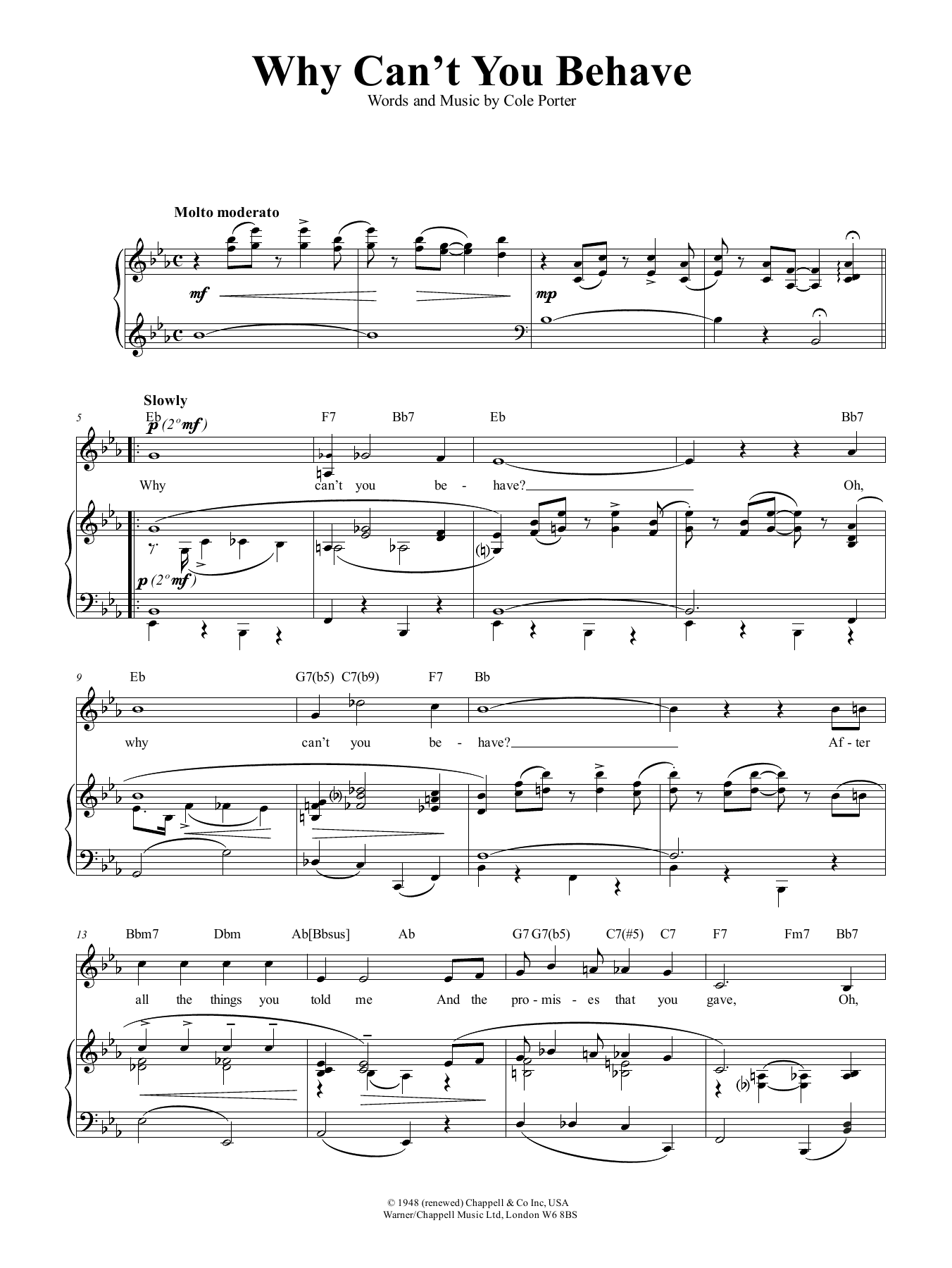 Why Can't You Behave? (from Kiss Me, Kate) (Piano, Vocal & Guitar (Right-Hand Melody))