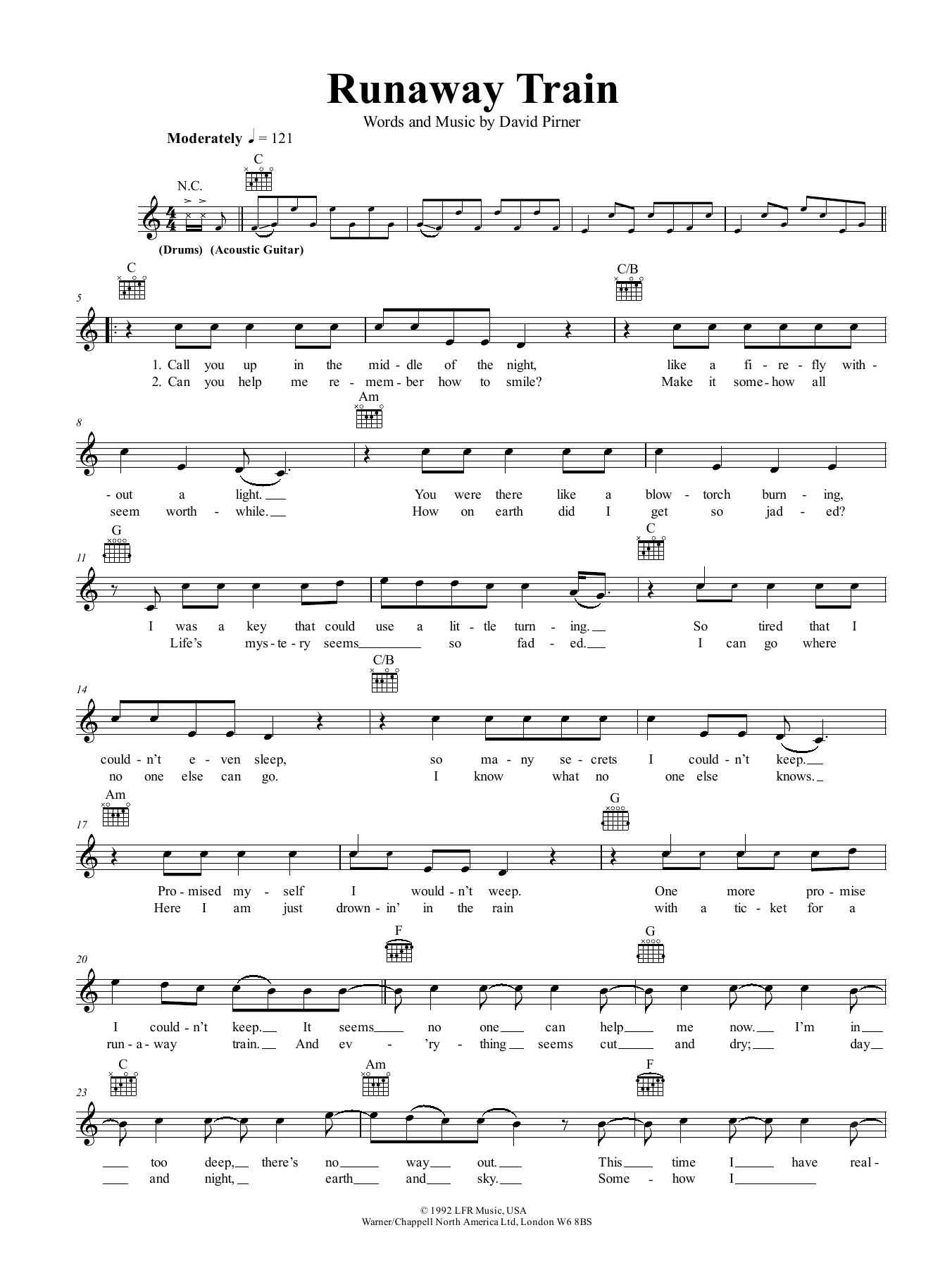 Runaway Train Sheet Music Soul Asylum Melody Line Lyrics Chords