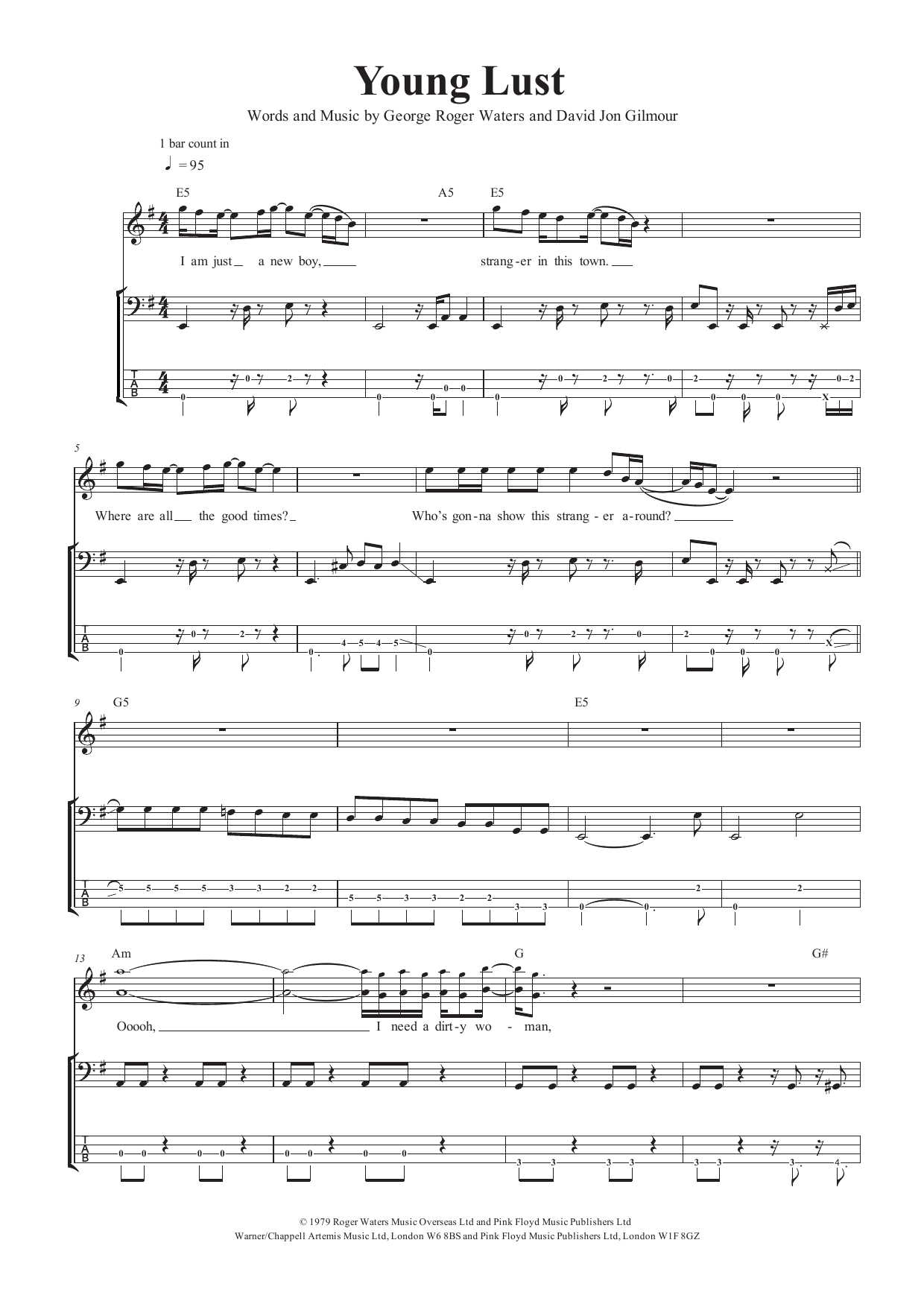 Young Lust (Bass Guitar Tab)