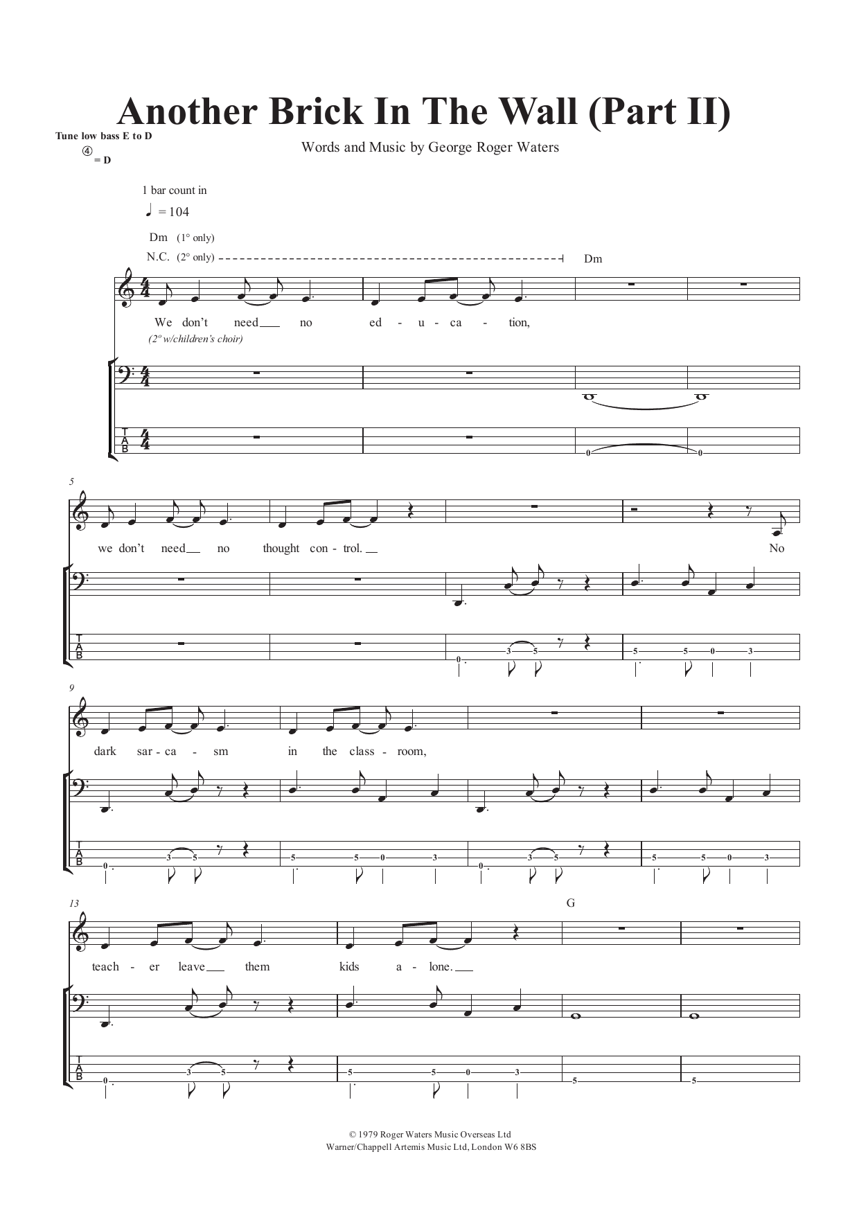 Another Brick In The Wall (Part II) (Bass Guitar Tab)