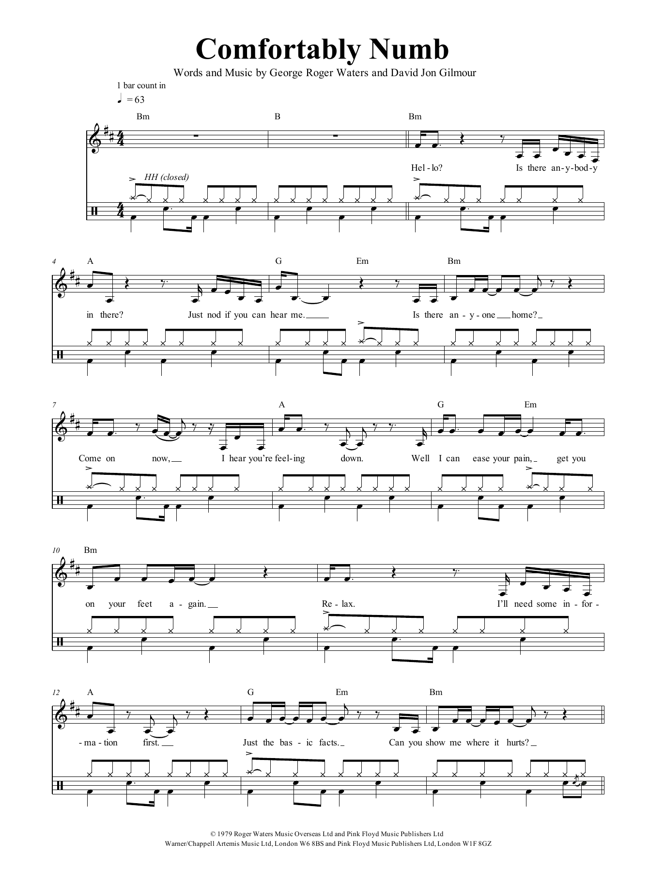 Comfortably Numb by Pink Floyd Guitar Chords/Lyrics Digital Sheet Music