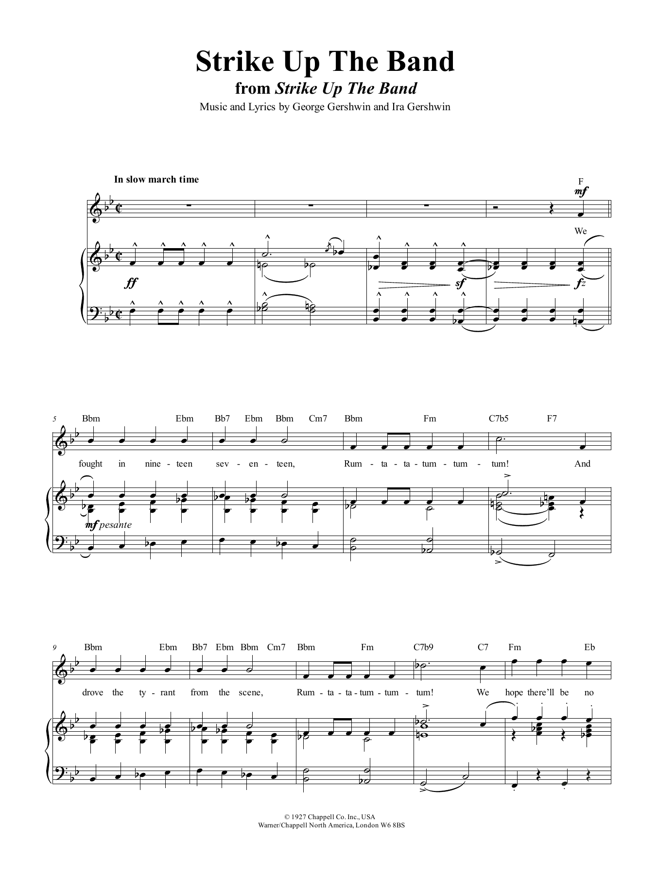 Strike Up The Band (Piano, Vocal & Guitar (Right-Hand Melody))