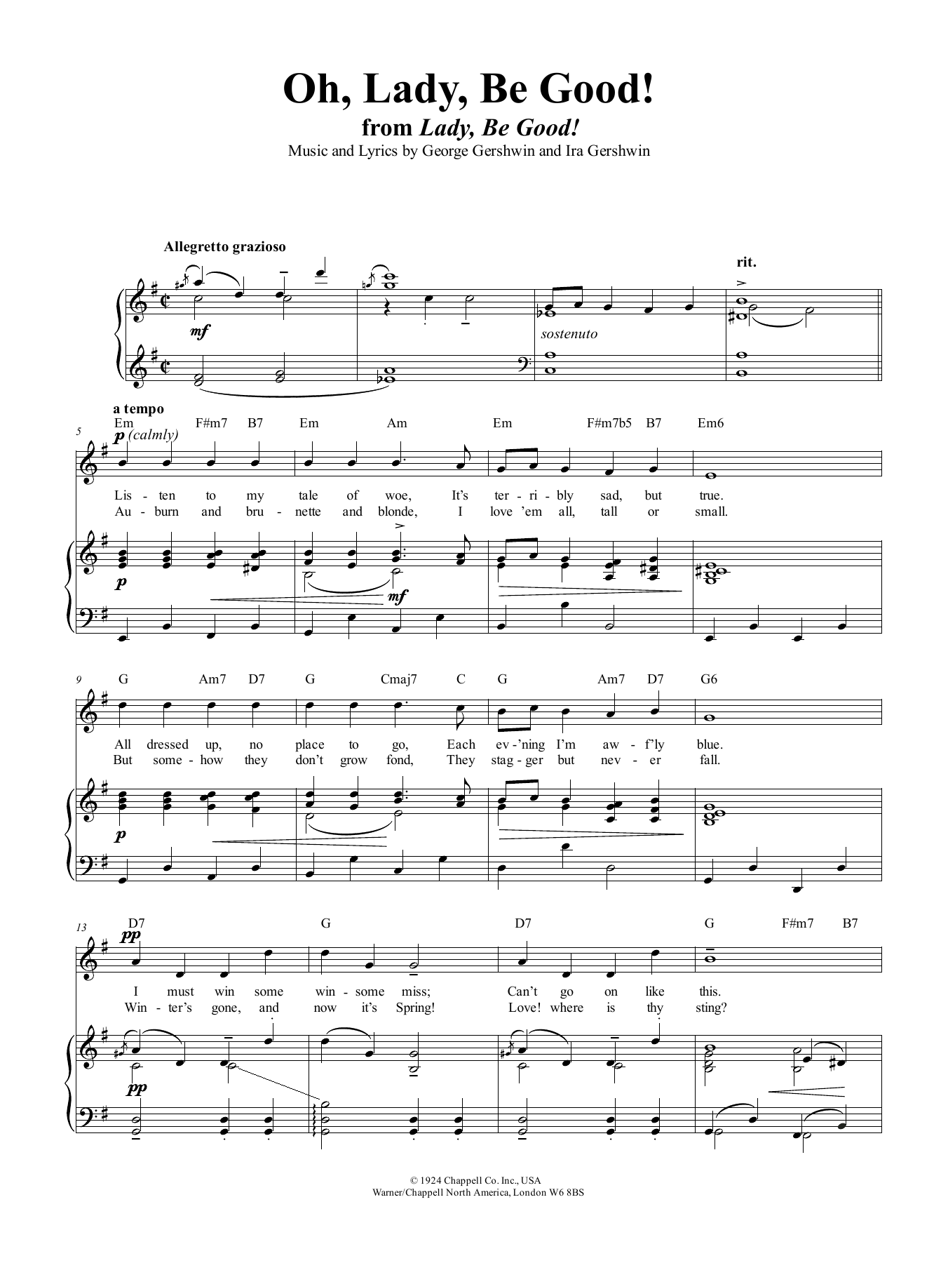 Oh, Lady, Be Good Sheet Music