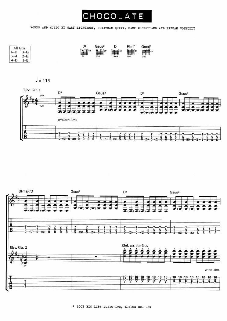 Chocolate (Guitar Tab)
