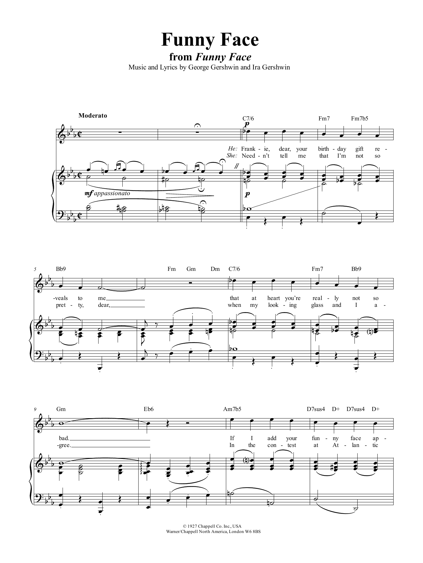 Funny Face (Piano, Vocal & Guitar (Right-Hand Melody))