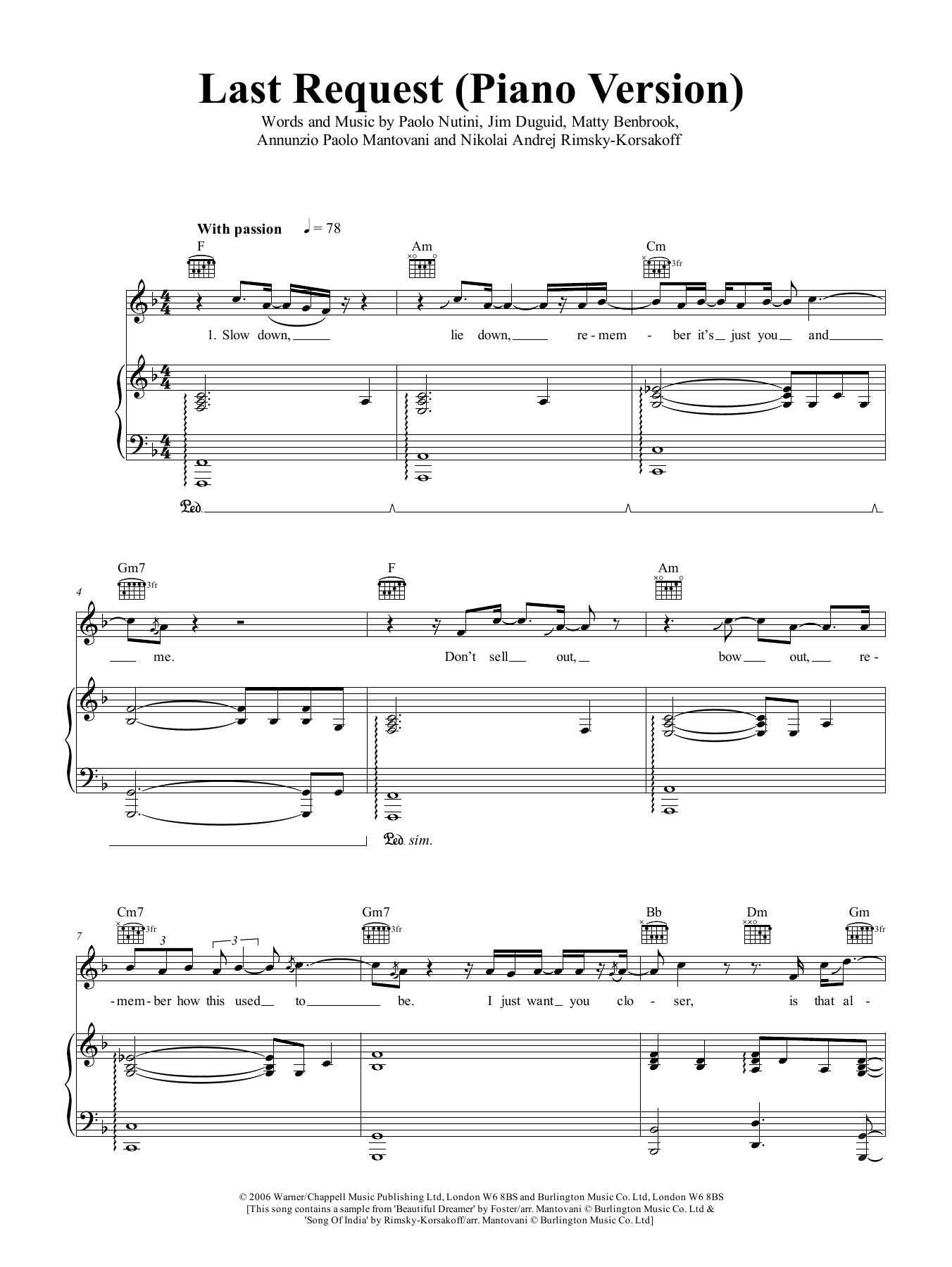 Last Request (piano version) Sheet Music