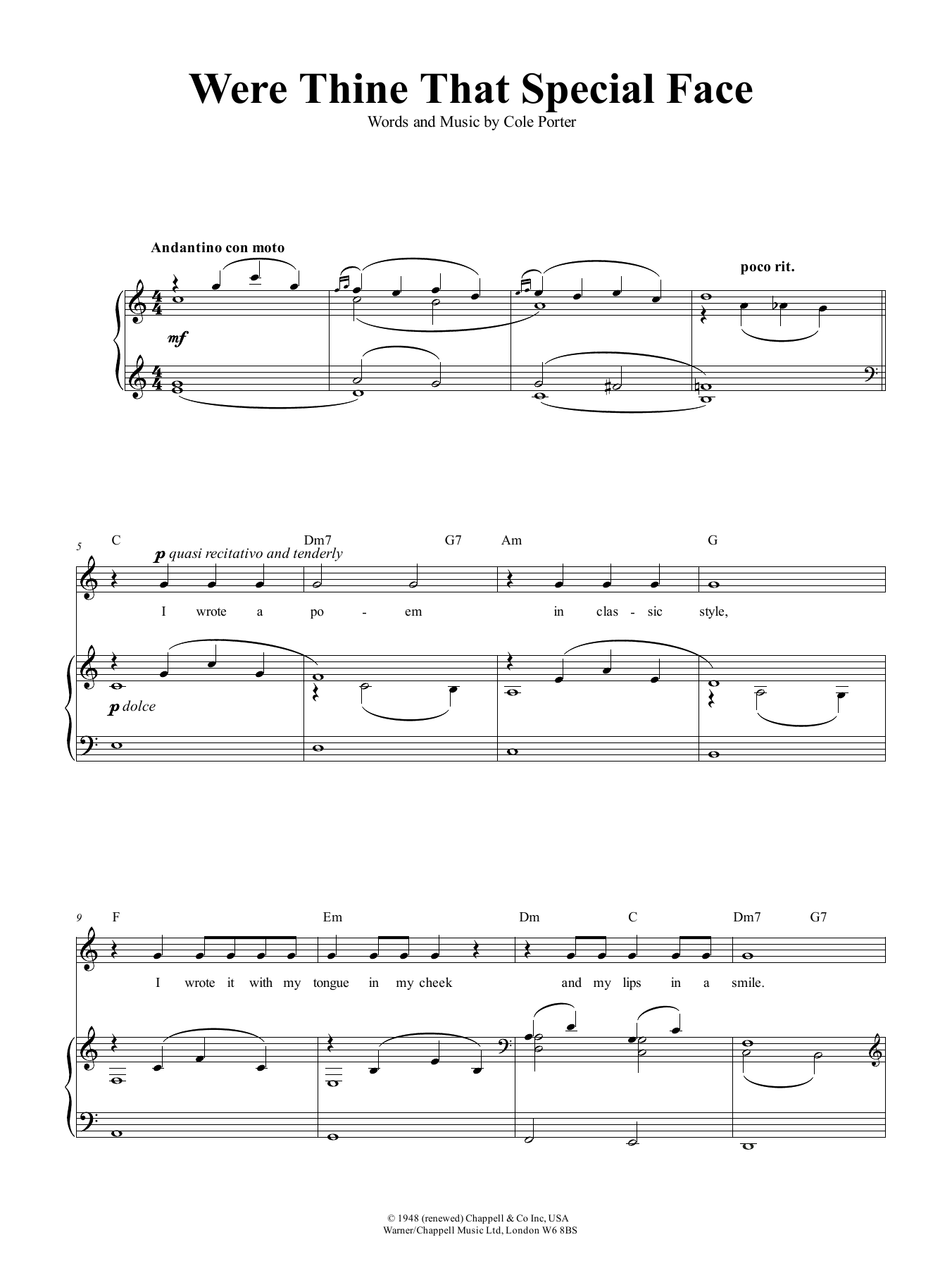 Were Thine That Special Face Sheet Music