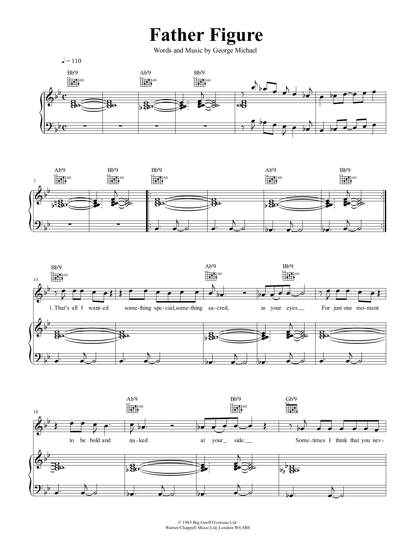 Father Figure (Piano, Vocal & Guitar (Right-Hand Melody))