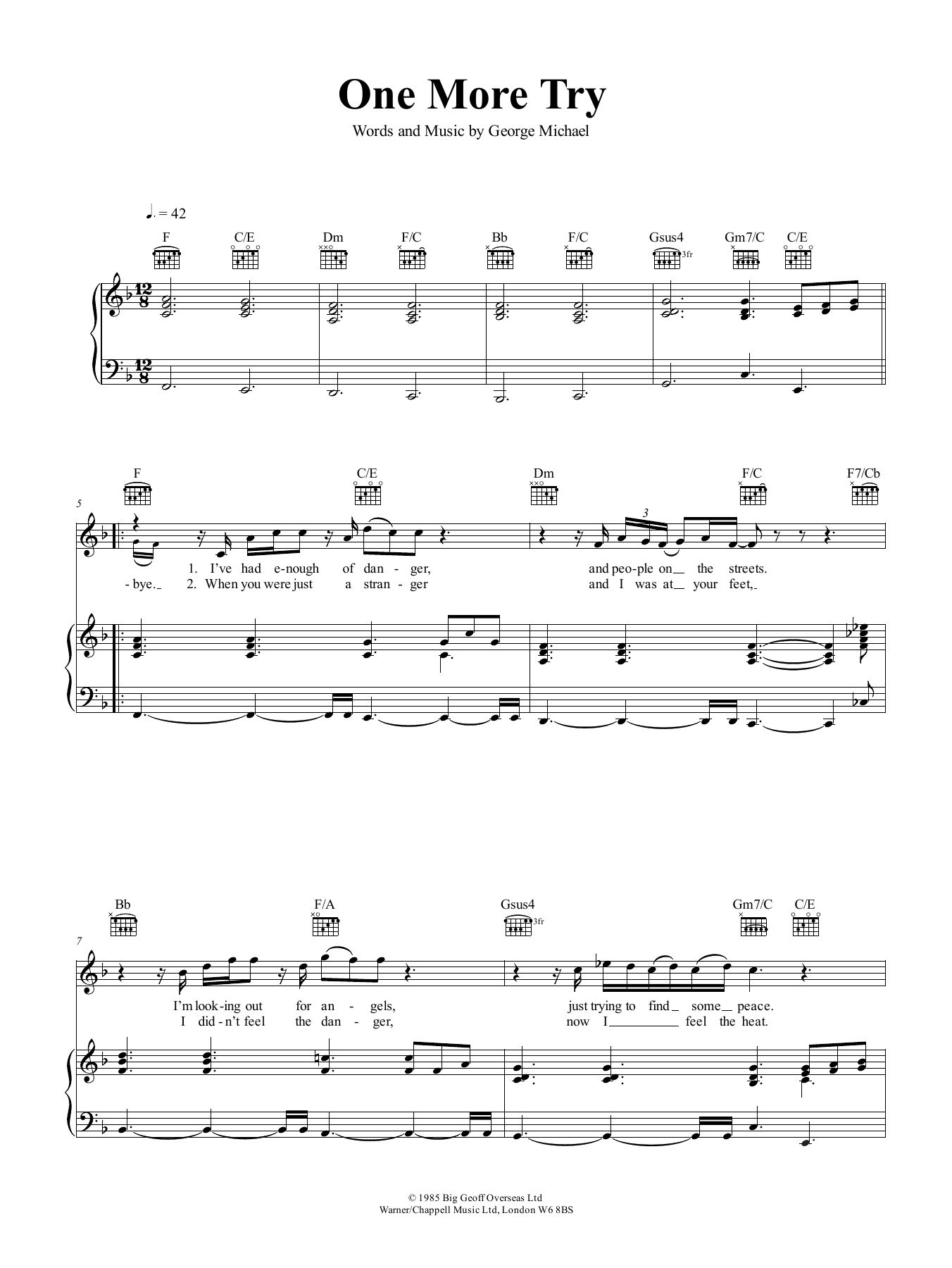 One More Try Sheet Music