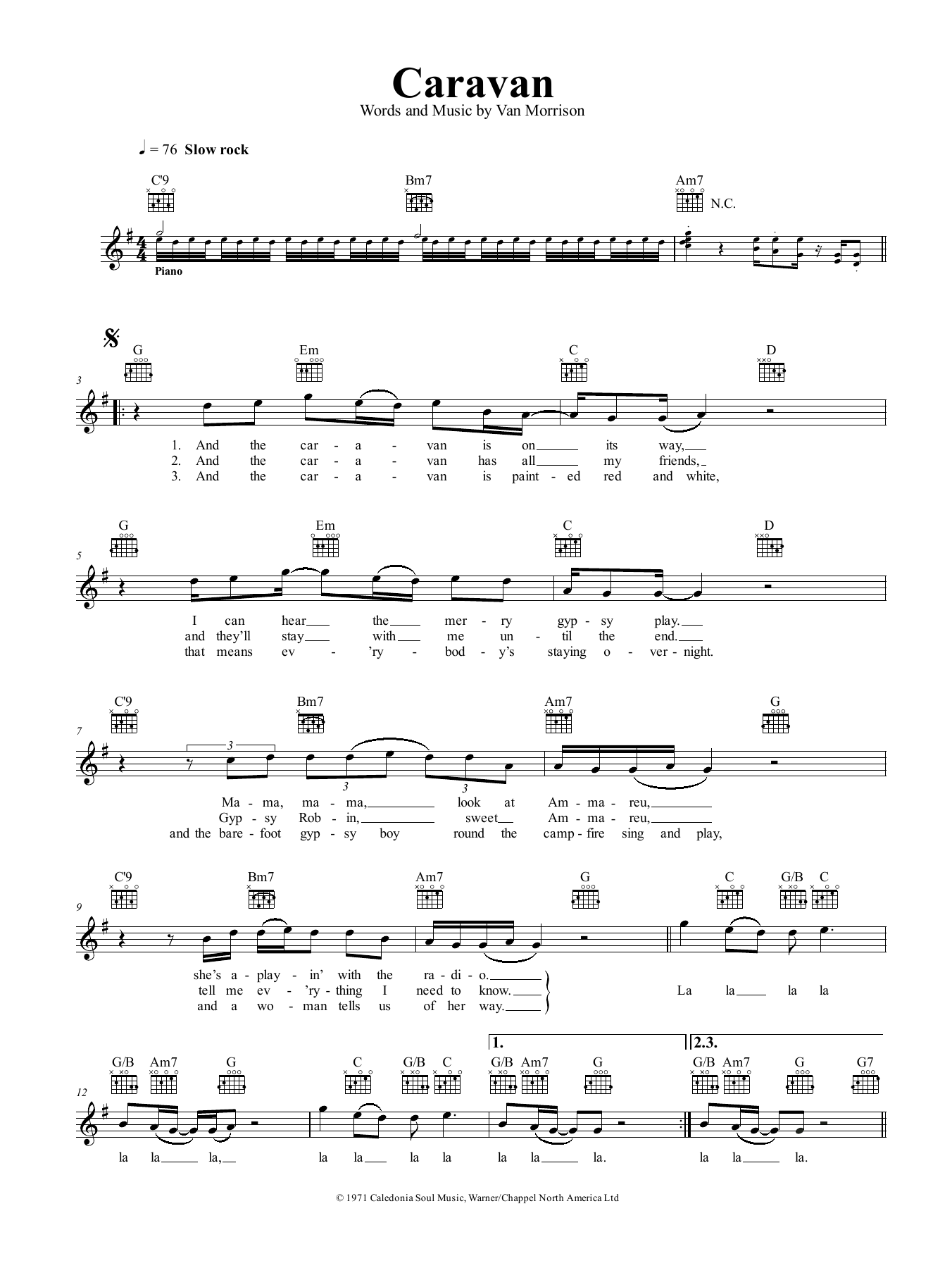 Caravan Van Morrison Melody Line Lyrics Chords