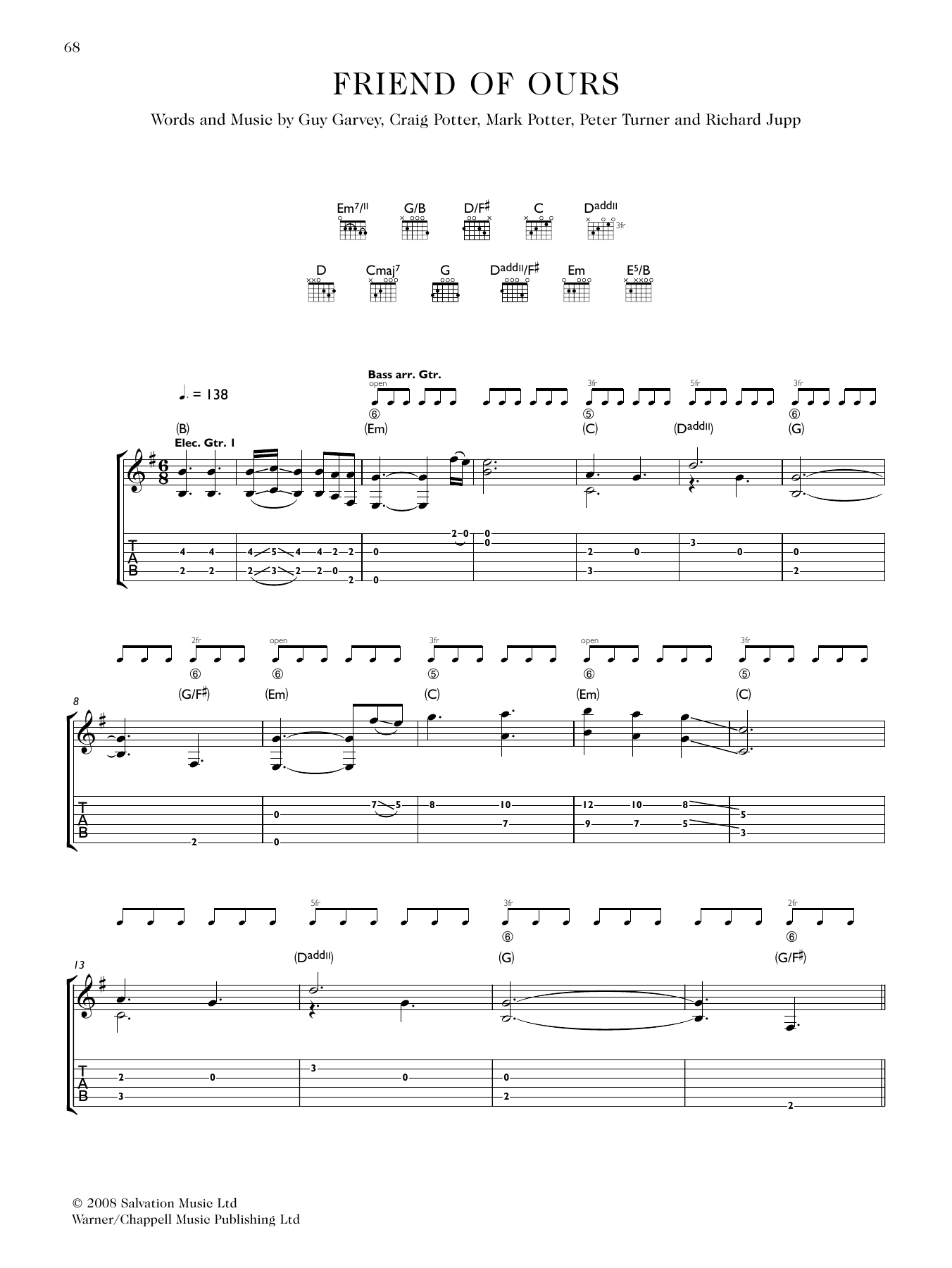 Friend Of Ours (Guitar Tab)