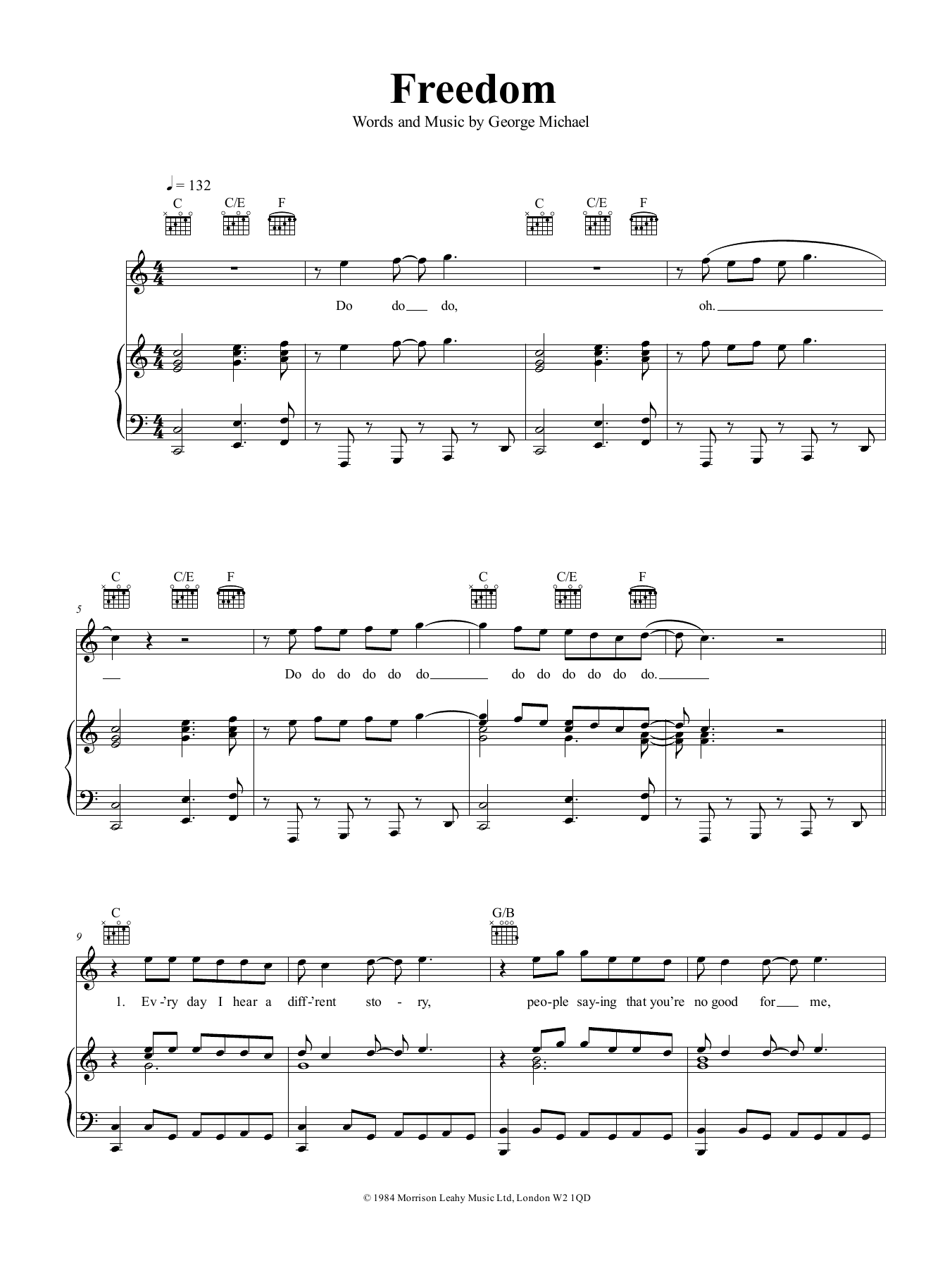 Freedom (Piano, Vocal & Guitar (Right-Hand Melody))