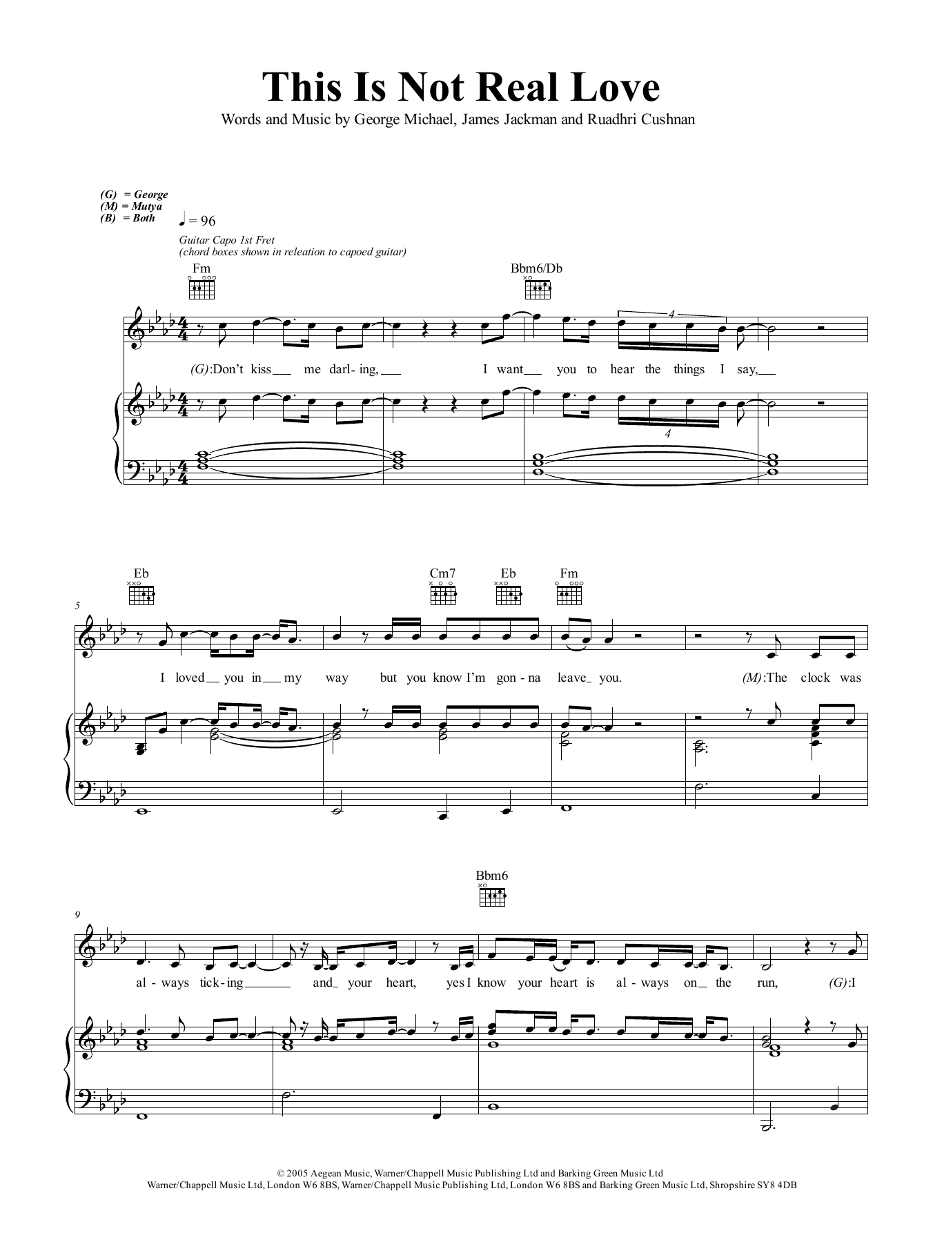 This Is Not Real Love Sheet Music