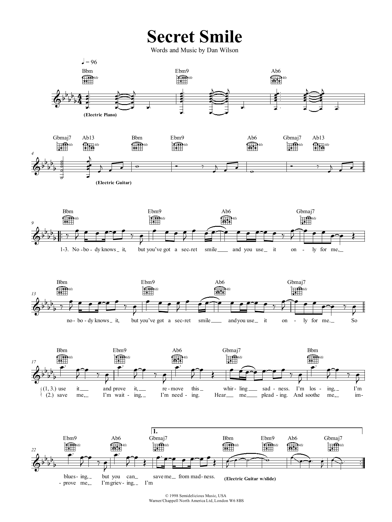 Secret Smile Sheet Music Semisonic Melody Line Lyrics Chords