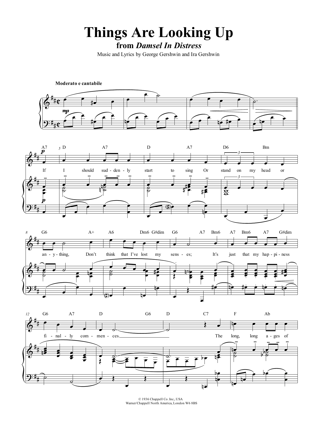 Things Are Looking Up by George Gershwin Piano, Vocal & Guitar (Right-Hand  Melody) Digital Sheet Music