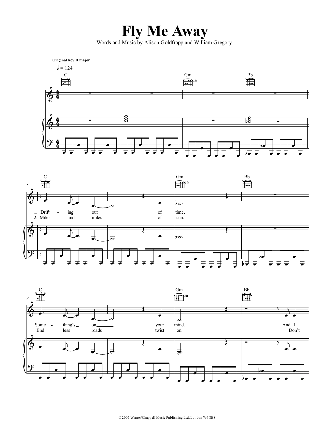 Fly Me Away (Piano, Vocal & Guitar (Right-Hand Melody))