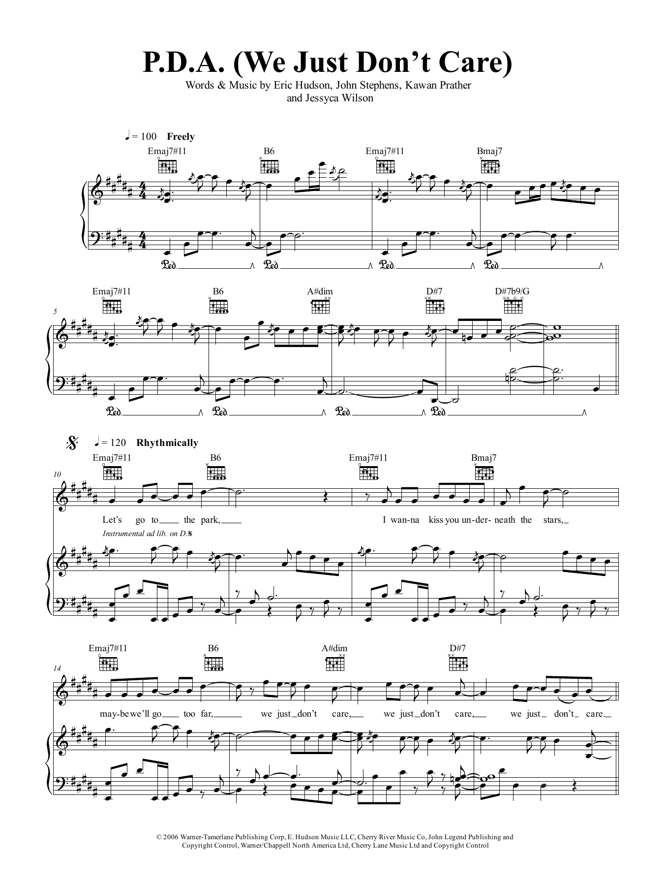 PDA (We Just Don't Care) Sheet Music