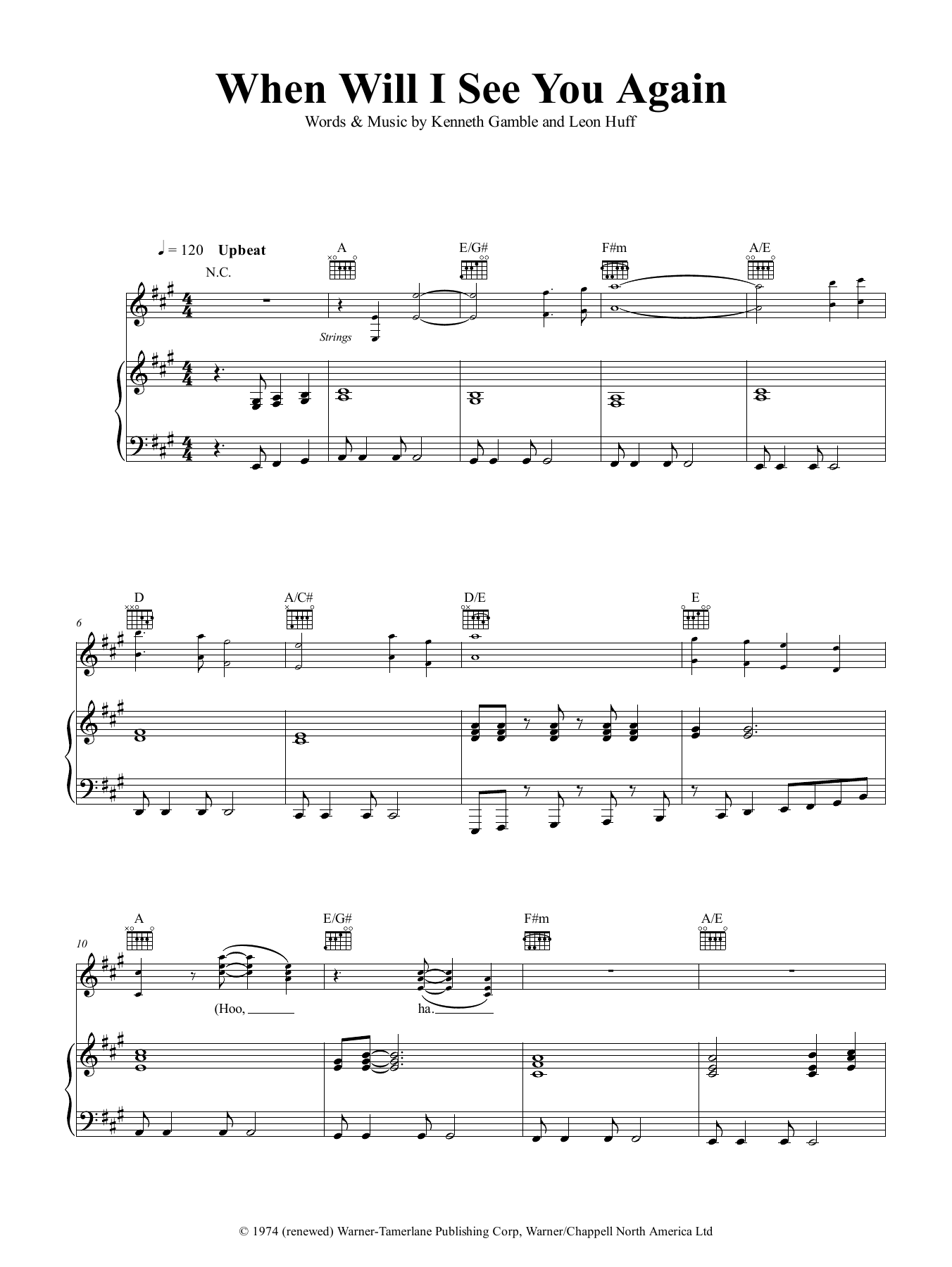 When Will I See You Again Sheet Music Three Degrees Piano
