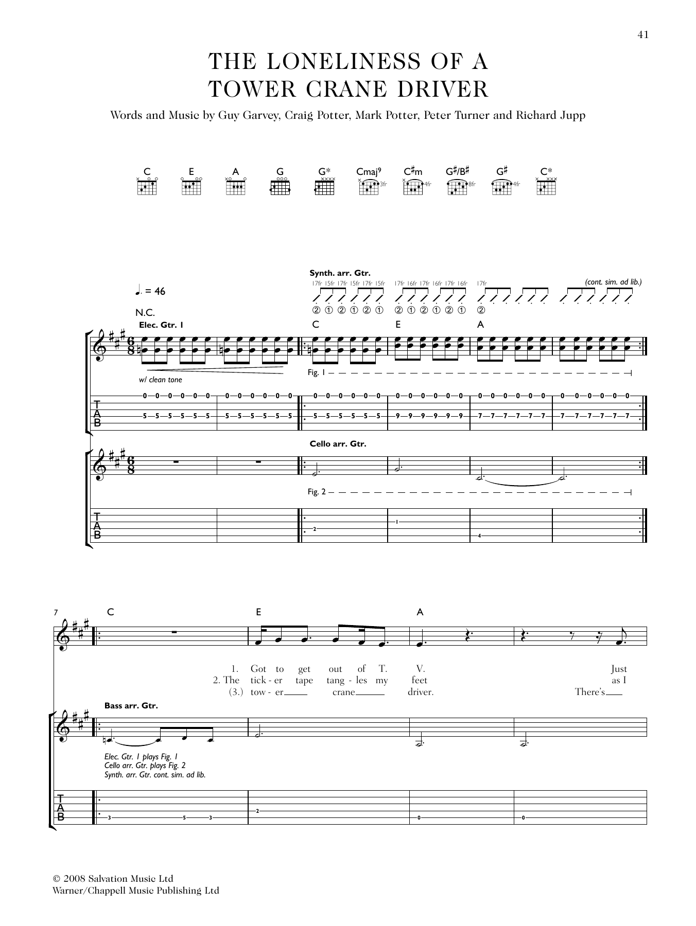 The Loneliness Of A Tower Crane Driver (Guitar Tab)