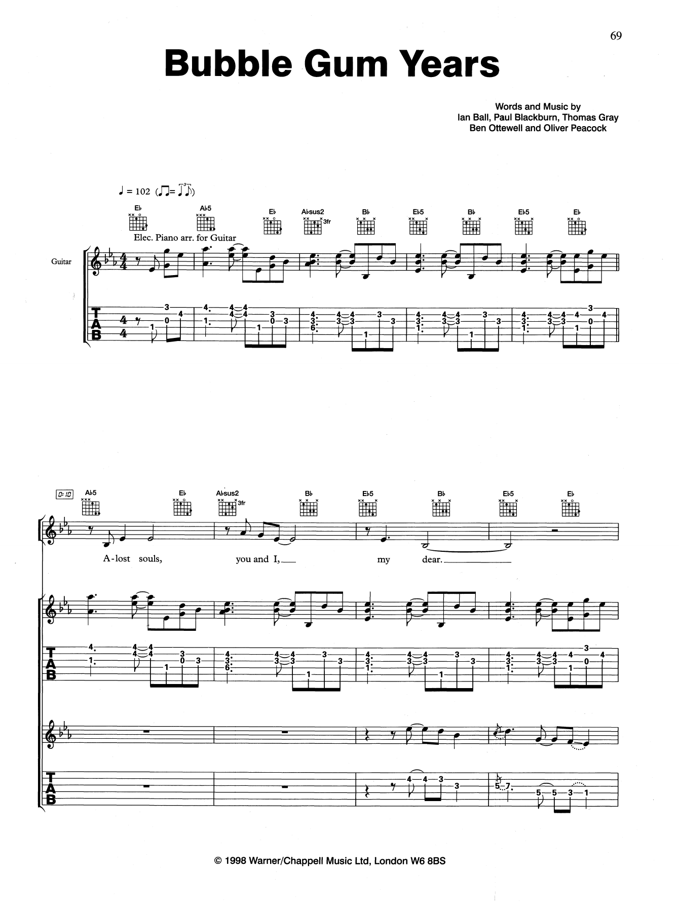 Bubble Gum Years (Guitar Tab)
